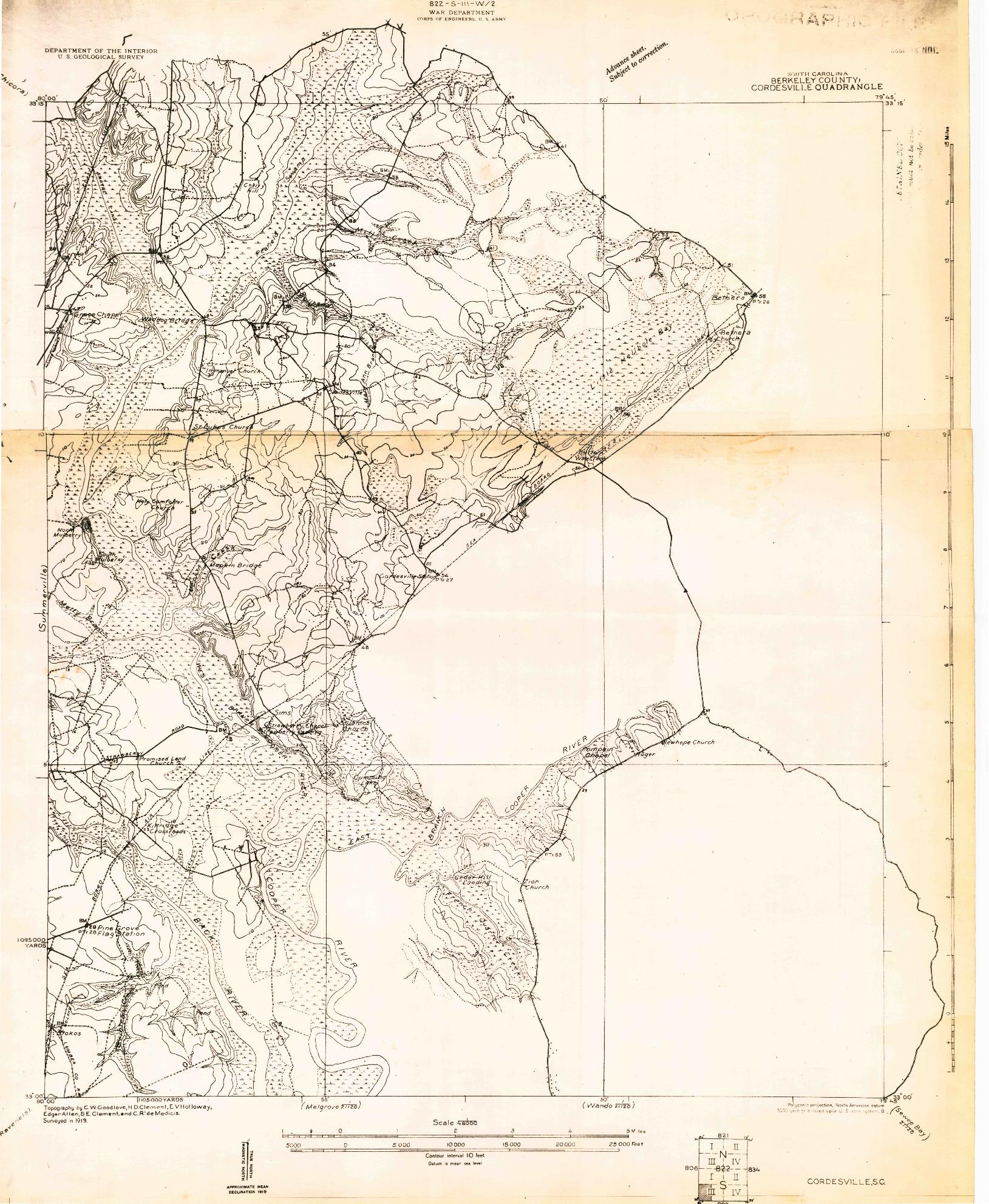 USGS 1:48000-SCALE QUADRANGLE FOR CORDESVILLE, SC 1919