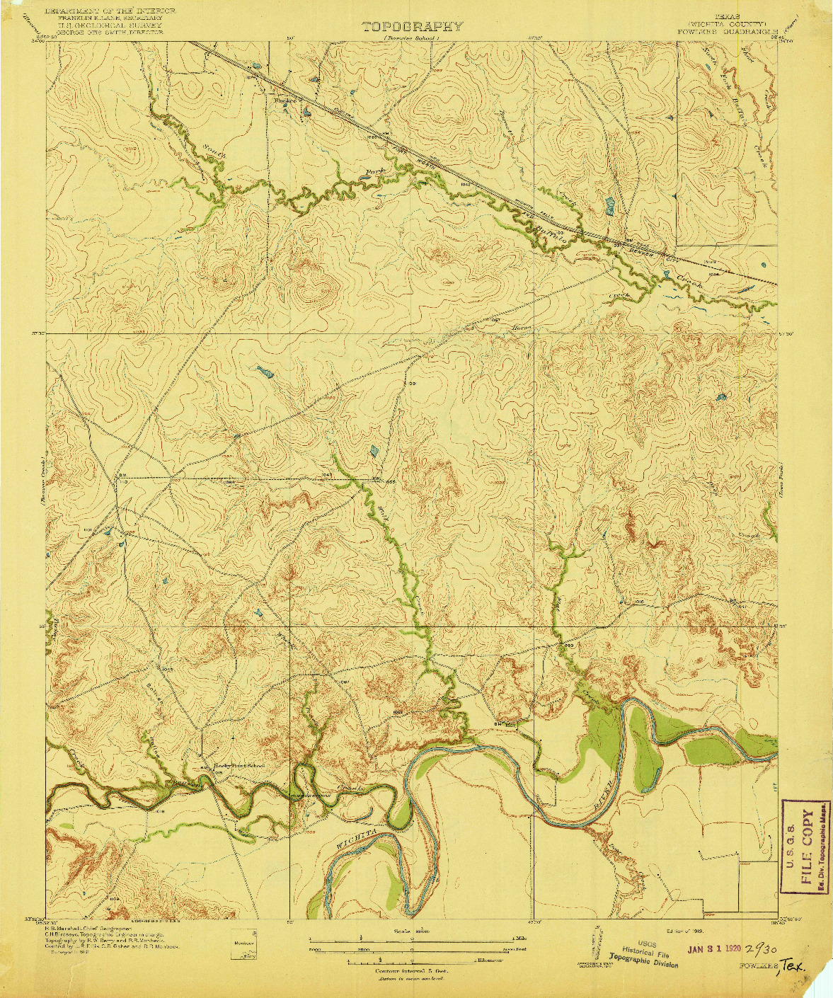 USGS 1:31680-SCALE QUADRANGLE FOR FOWLKES, TX 1919