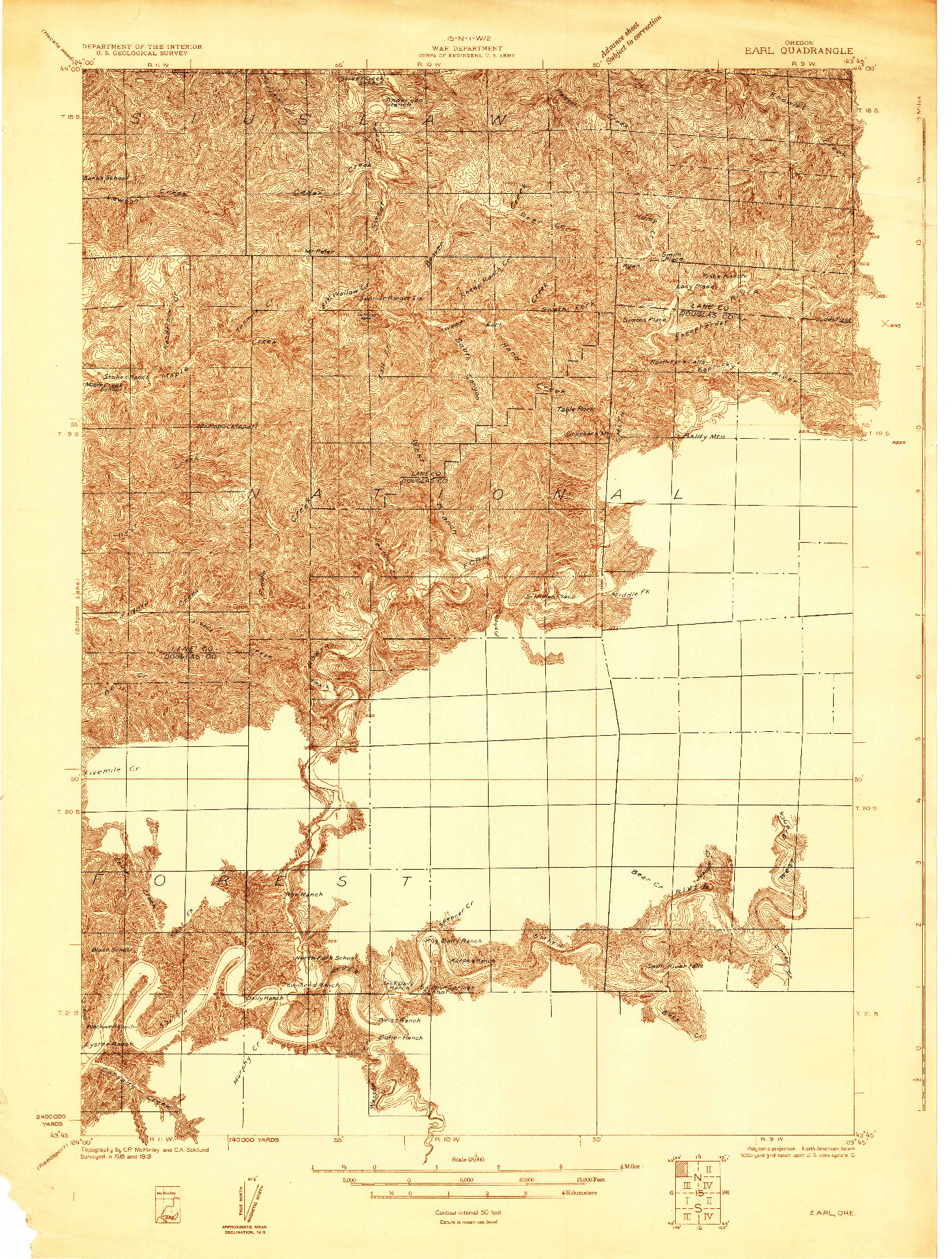USGS 1:48000-SCALE QUADRANGLE FOR EARL, OR 1919