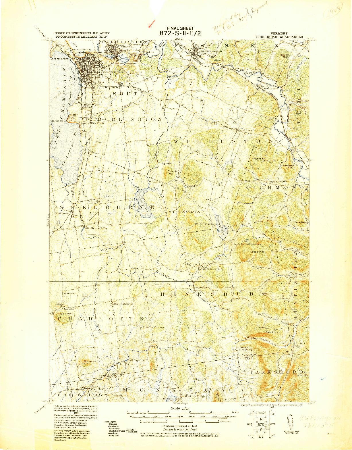 USGS 1:62500-SCALE QUADRANGLE FOR BURLINGTON, VT 1919