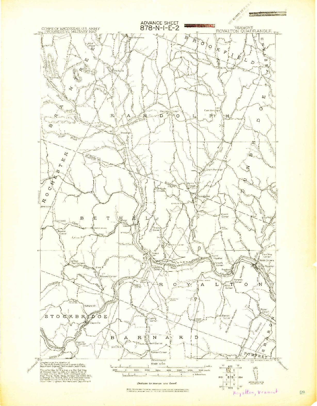 USGS 1:62500-SCALE QUADRANGLE FOR ROYALTON, VT 1919