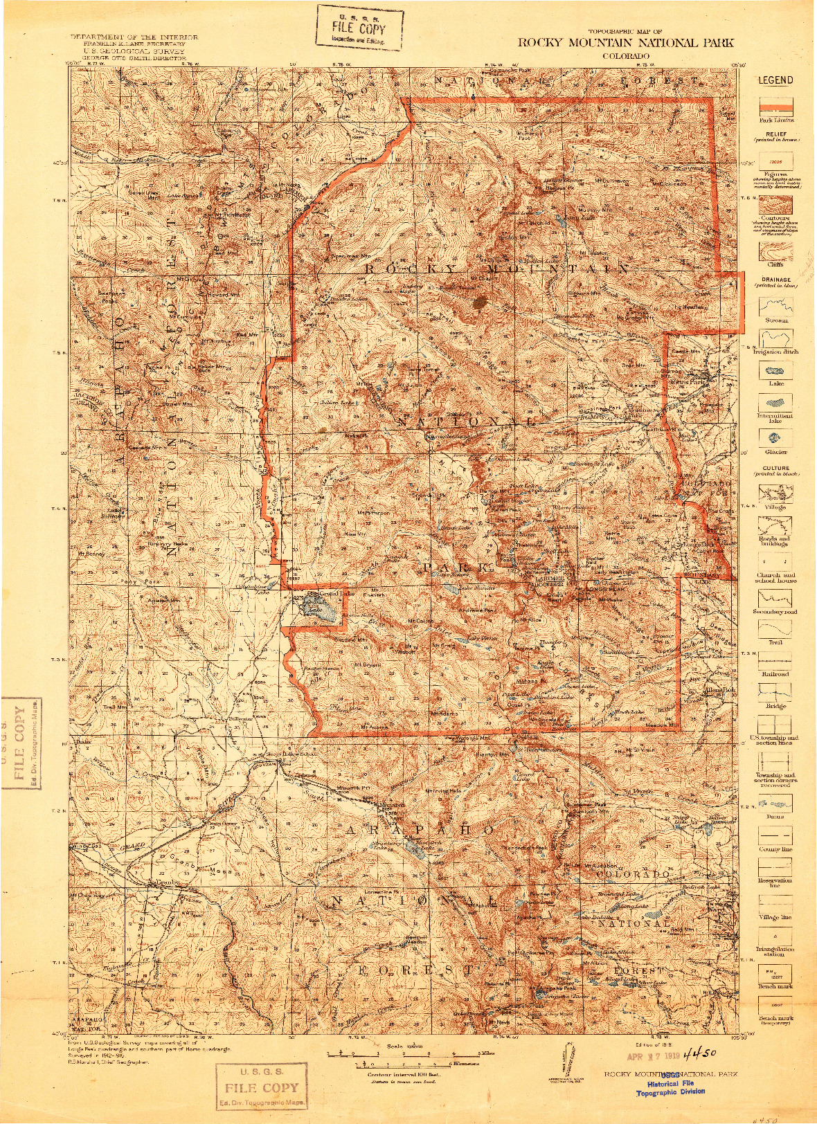 USGS 1:125000-SCALE QUADRANGLE FOR ROCKY MOUNTAIN NATIONAL PARK, CO 1919