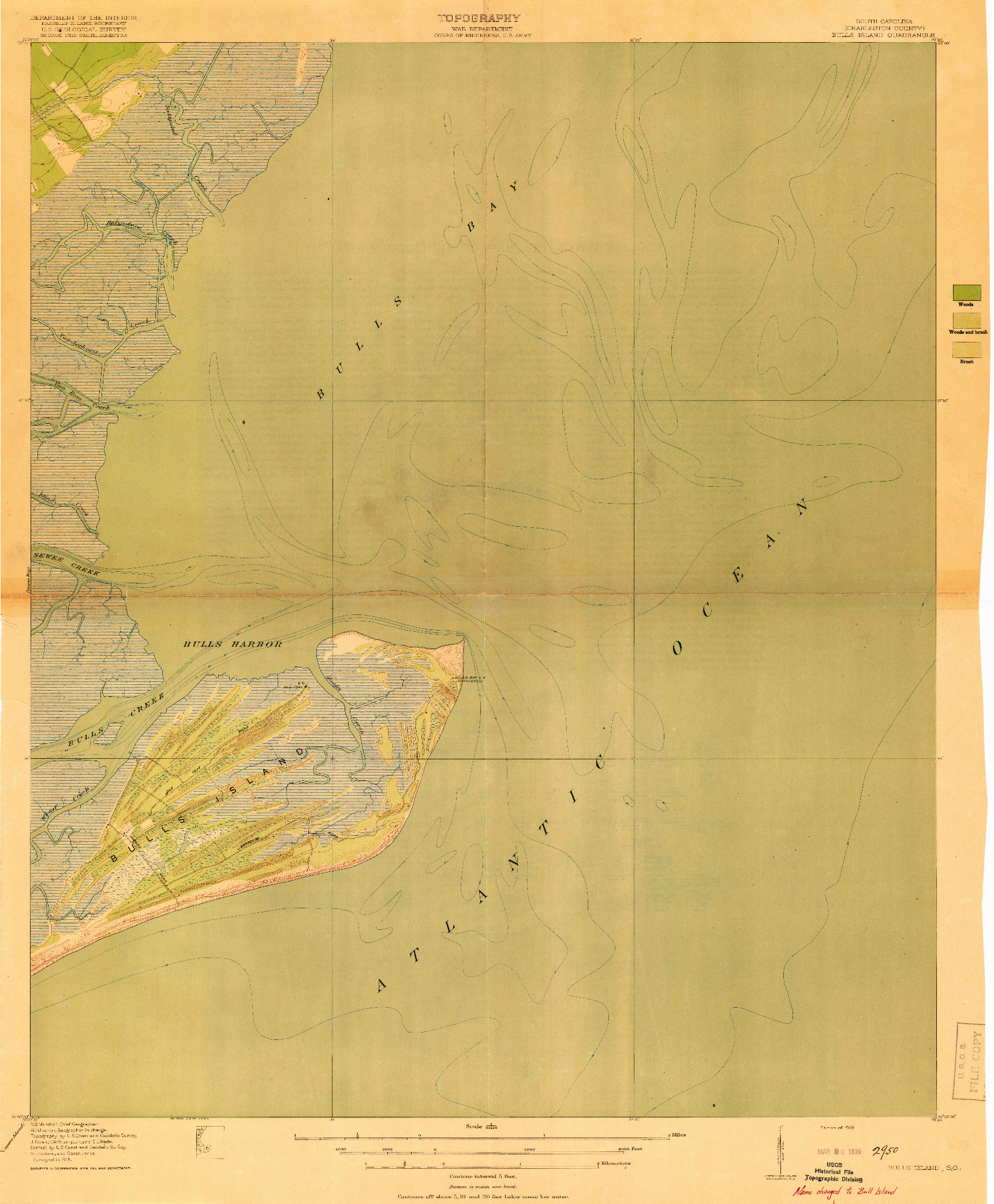 USGS 1:21120-SCALE QUADRANGLE FOR BULLS ISLAND, SC 1919