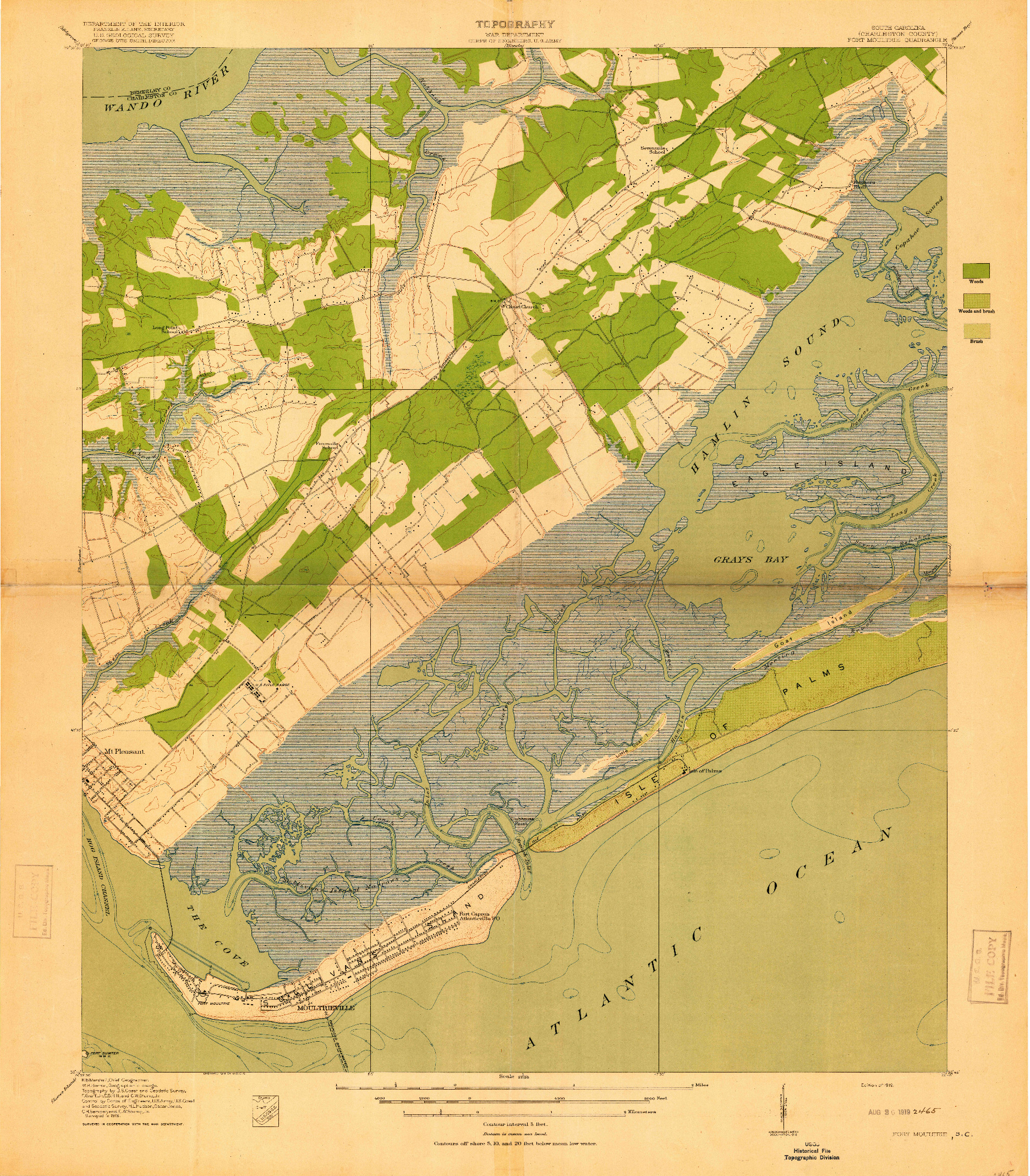 USGS 1:21120-SCALE QUADRANGLE FOR FORT MOULTRIE, SC 1919