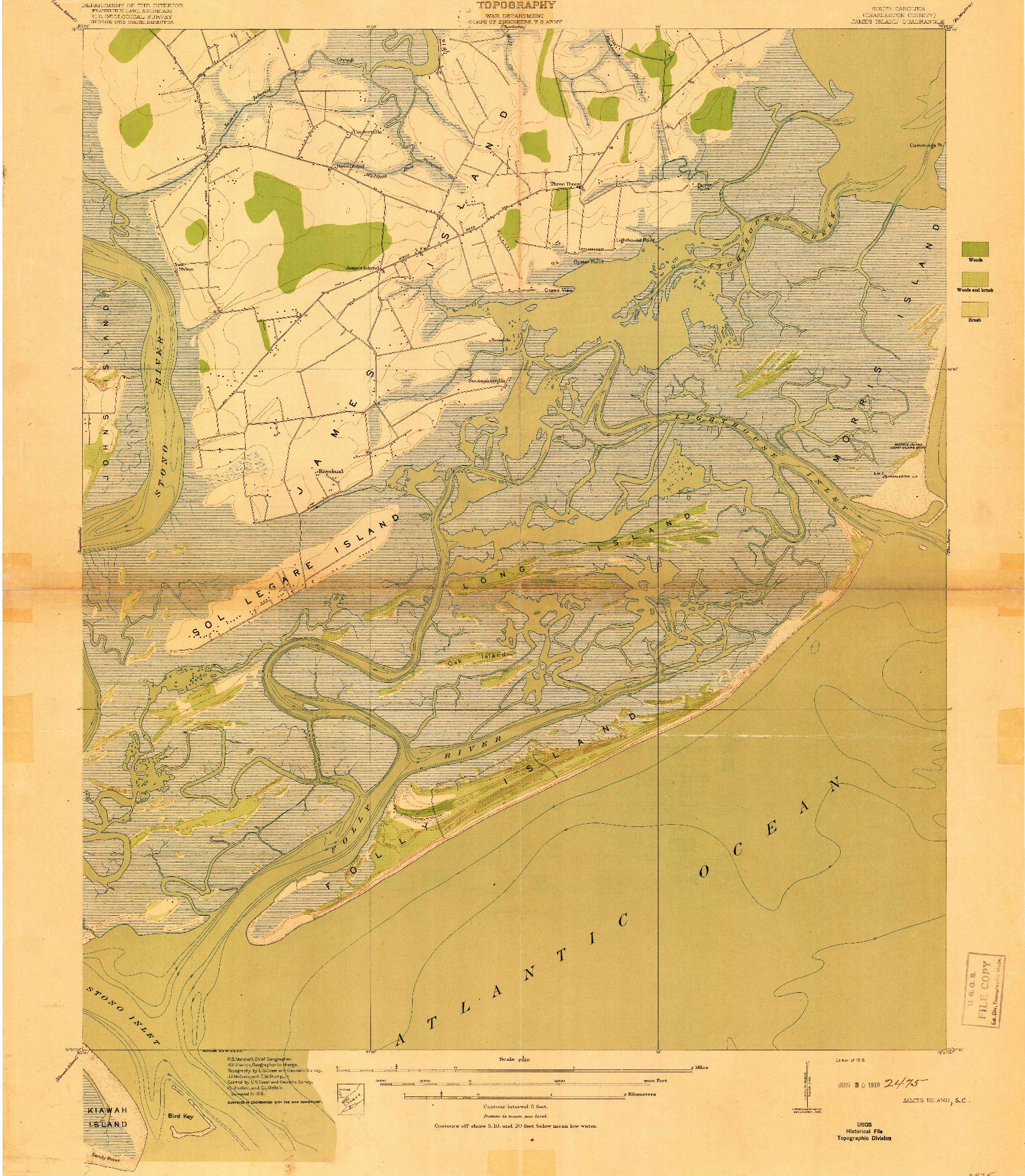 USGS 1:21120-SCALE QUADRANGLE FOR JAMES ISLAND, SC 1919