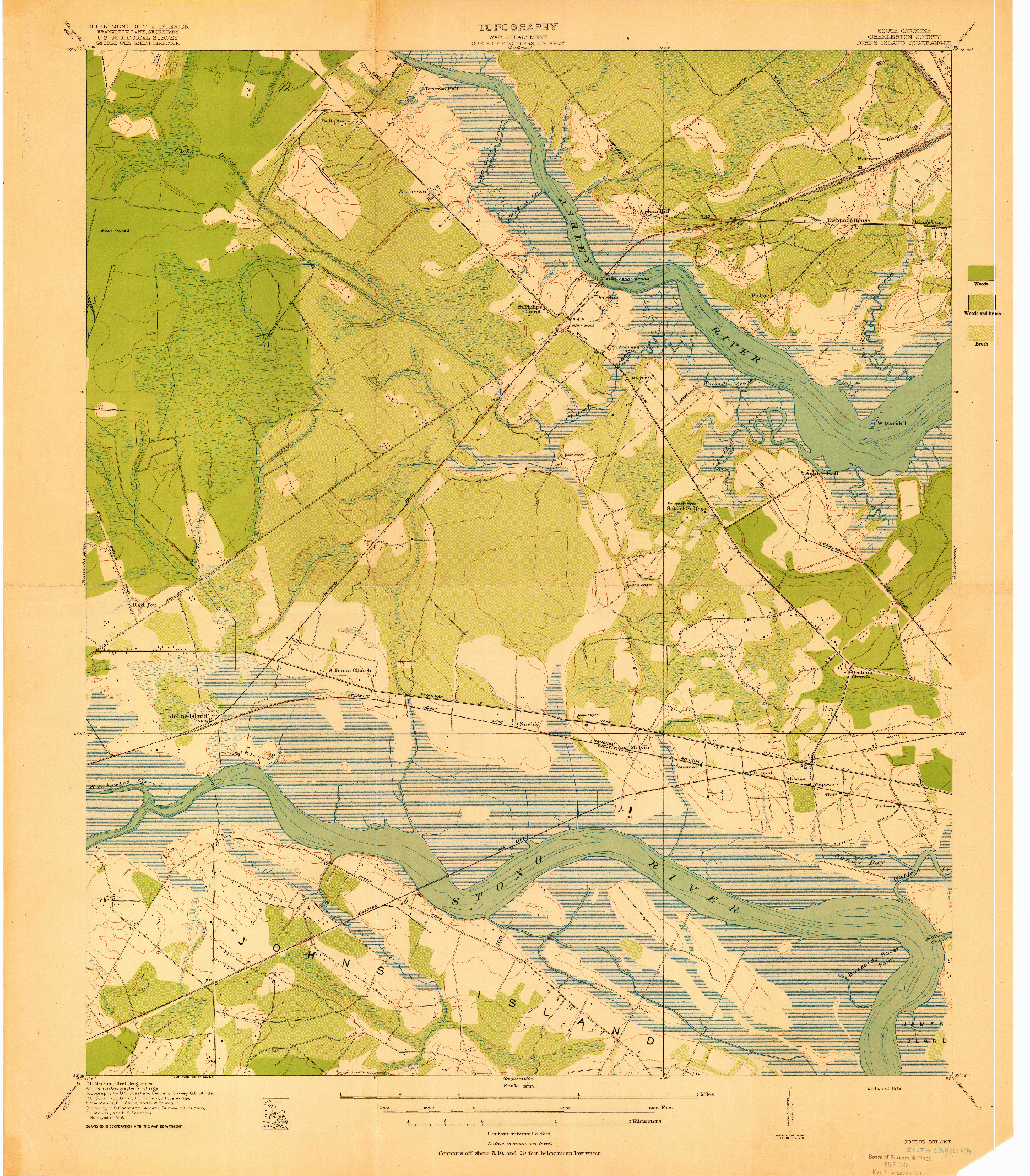 USGS 1:21120-SCALE QUADRANGLE FOR JOHNS ISLAND, SC 1919
