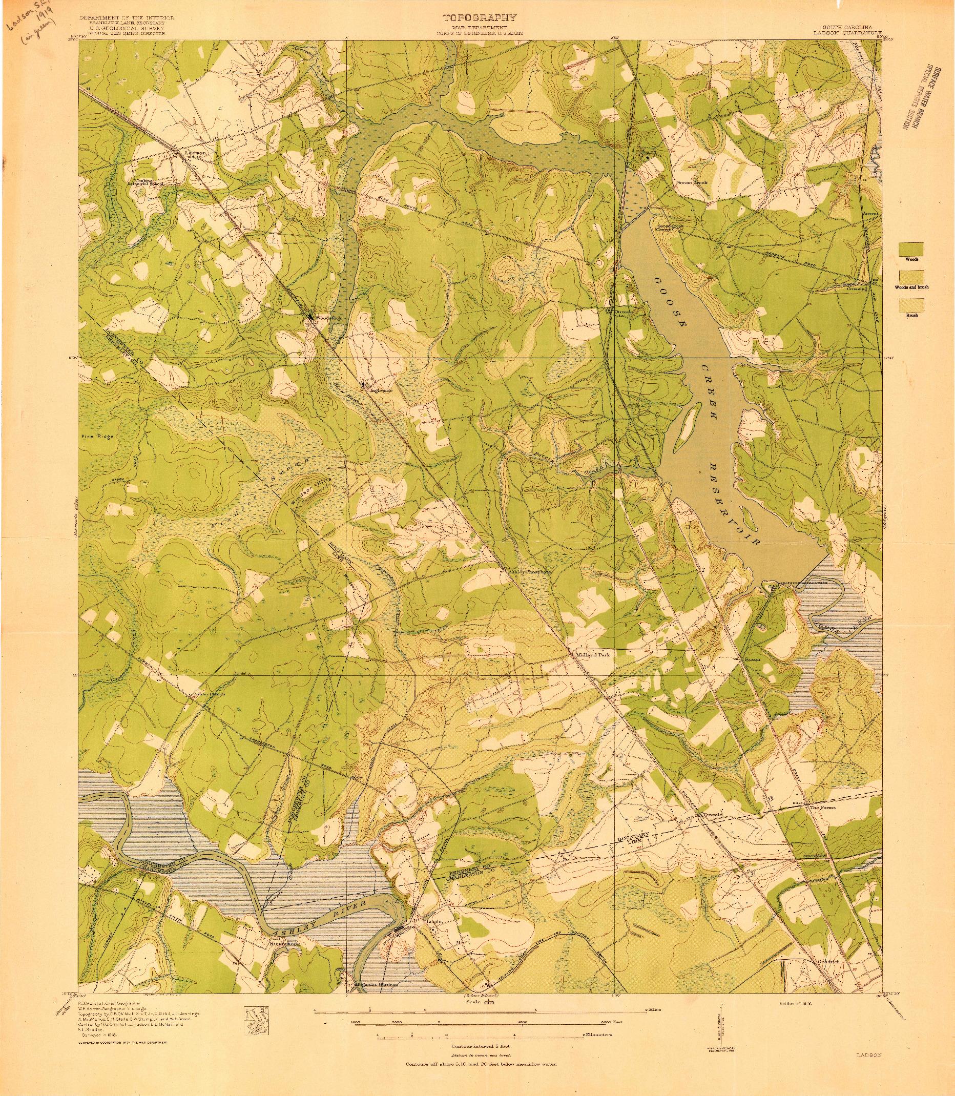 USGS 1:21120-SCALE QUADRANGLE FOR LADSON, SC 1919