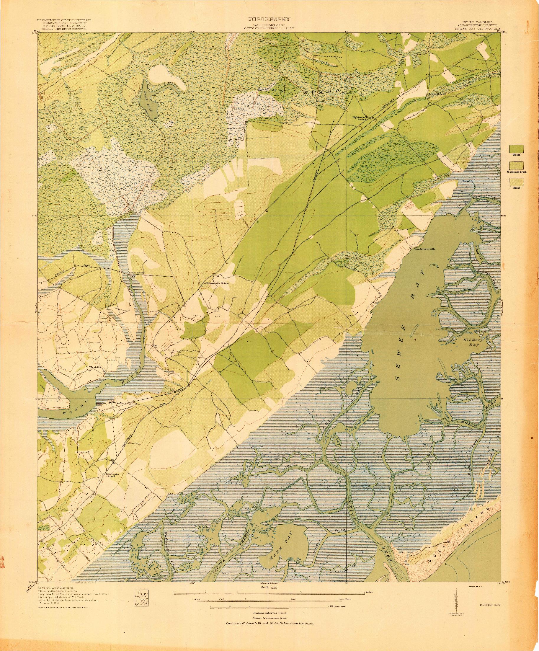 USGS 1:21120-SCALE QUADRANGLE FOR SEWEE BAY, SC 1919