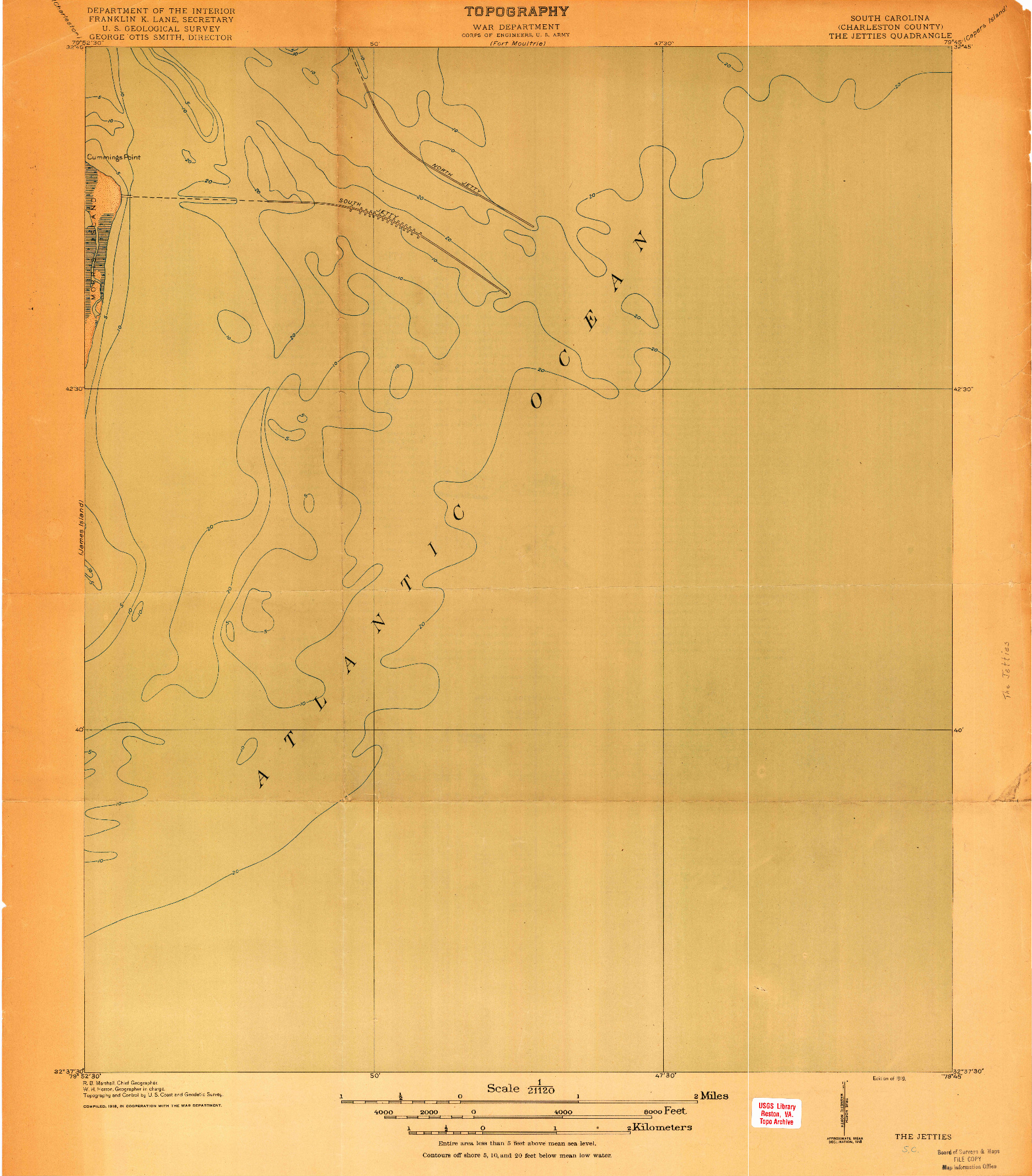 USGS 1:21120-SCALE QUADRANGLE FOR THE JETTIES, SC 1919
