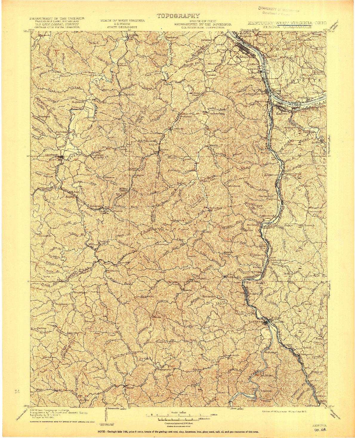 USGS 1:125000-SCALE QUADRANGLE FOR KENOVA, KY 1903
