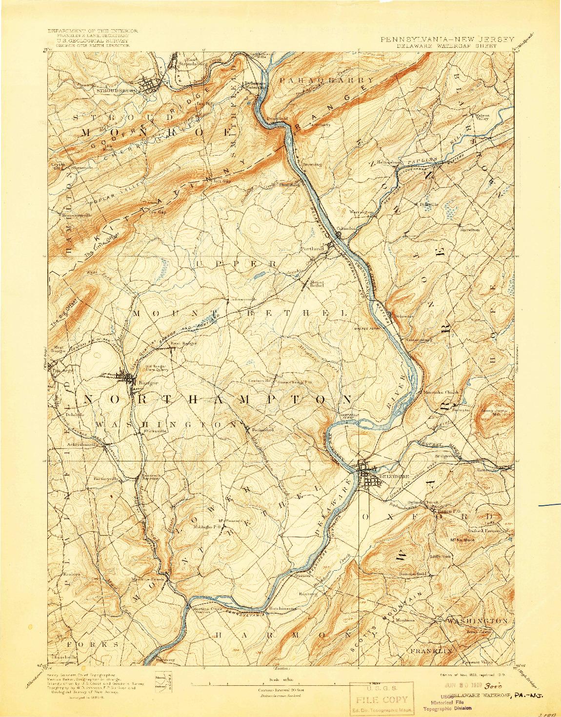 USGS 1:62500-SCALE QUADRANGLE FOR DELAWARE WATERGAP, PA 1893