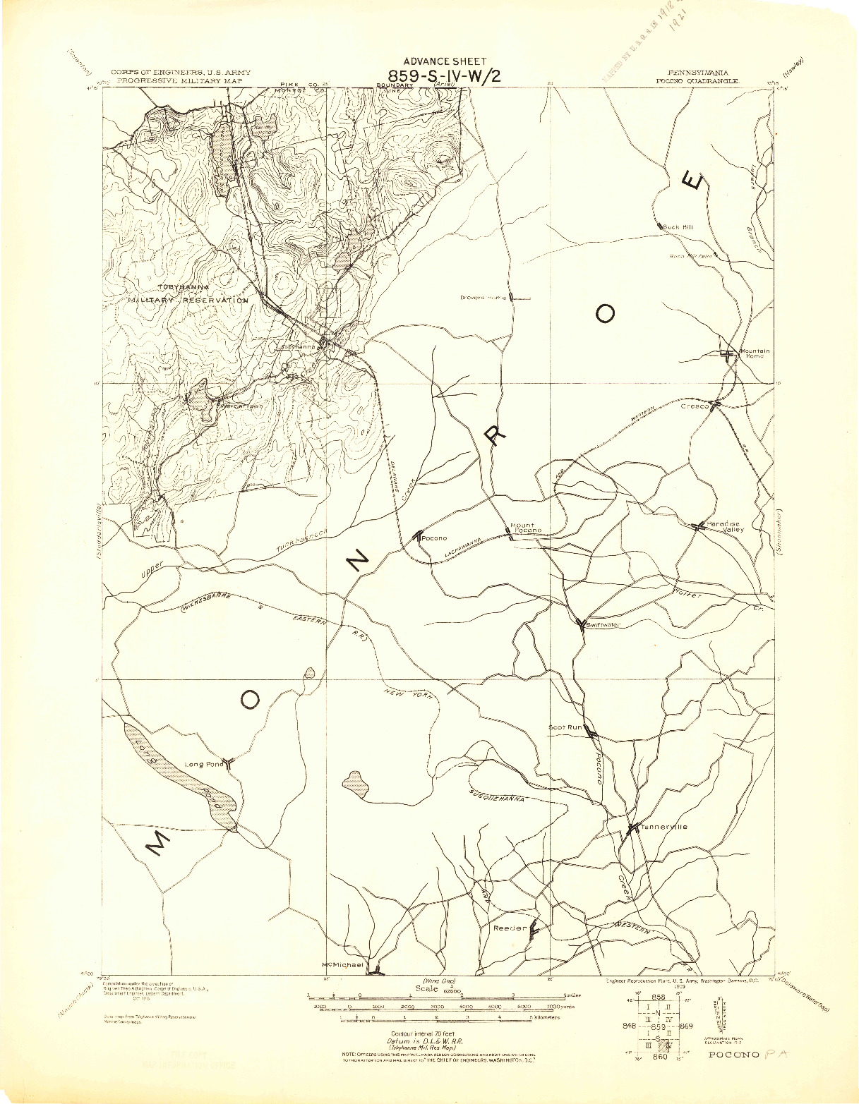 USGS 1:62500-SCALE QUADRANGLE FOR POCONO, PA 1919