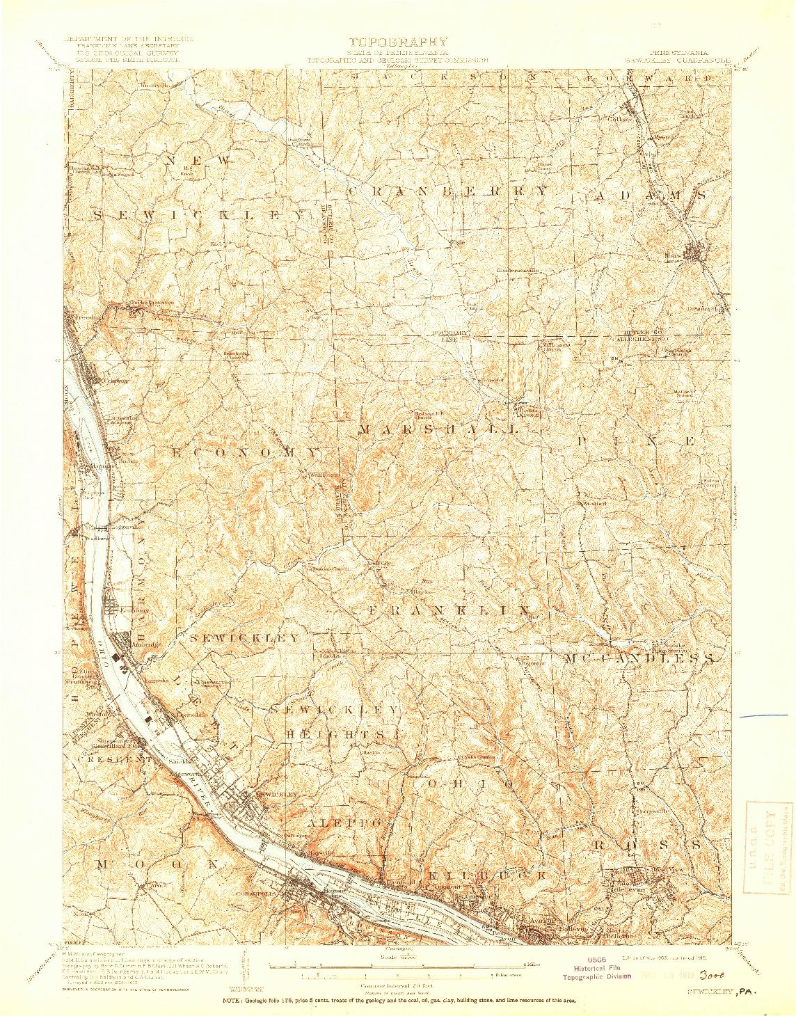 USGS 1:62500-SCALE QUADRANGLE FOR SEWICKLEY, PA 1908