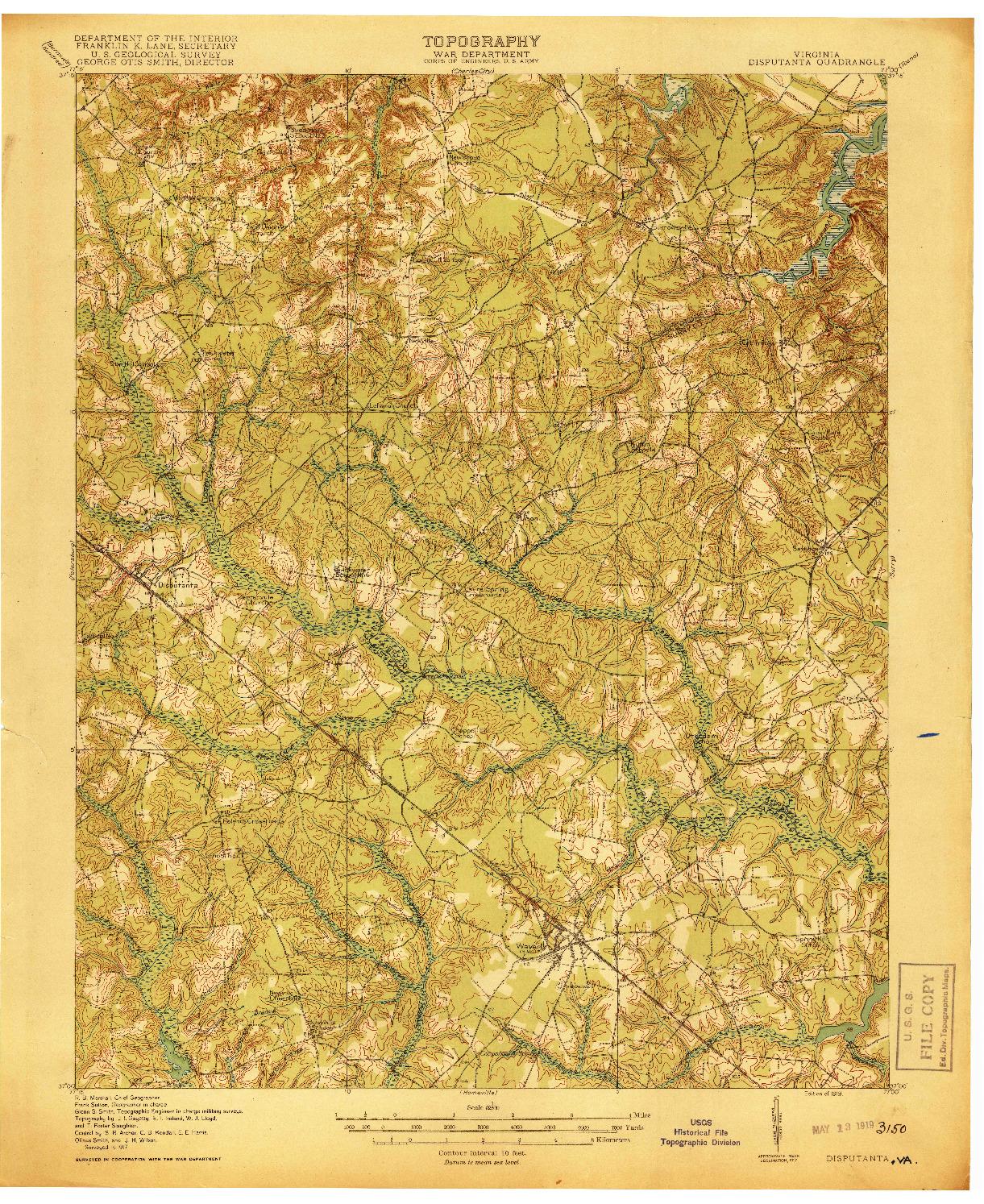 USGS 1:62500-SCALE QUADRANGLE FOR DISPUTANTA, VA 1919