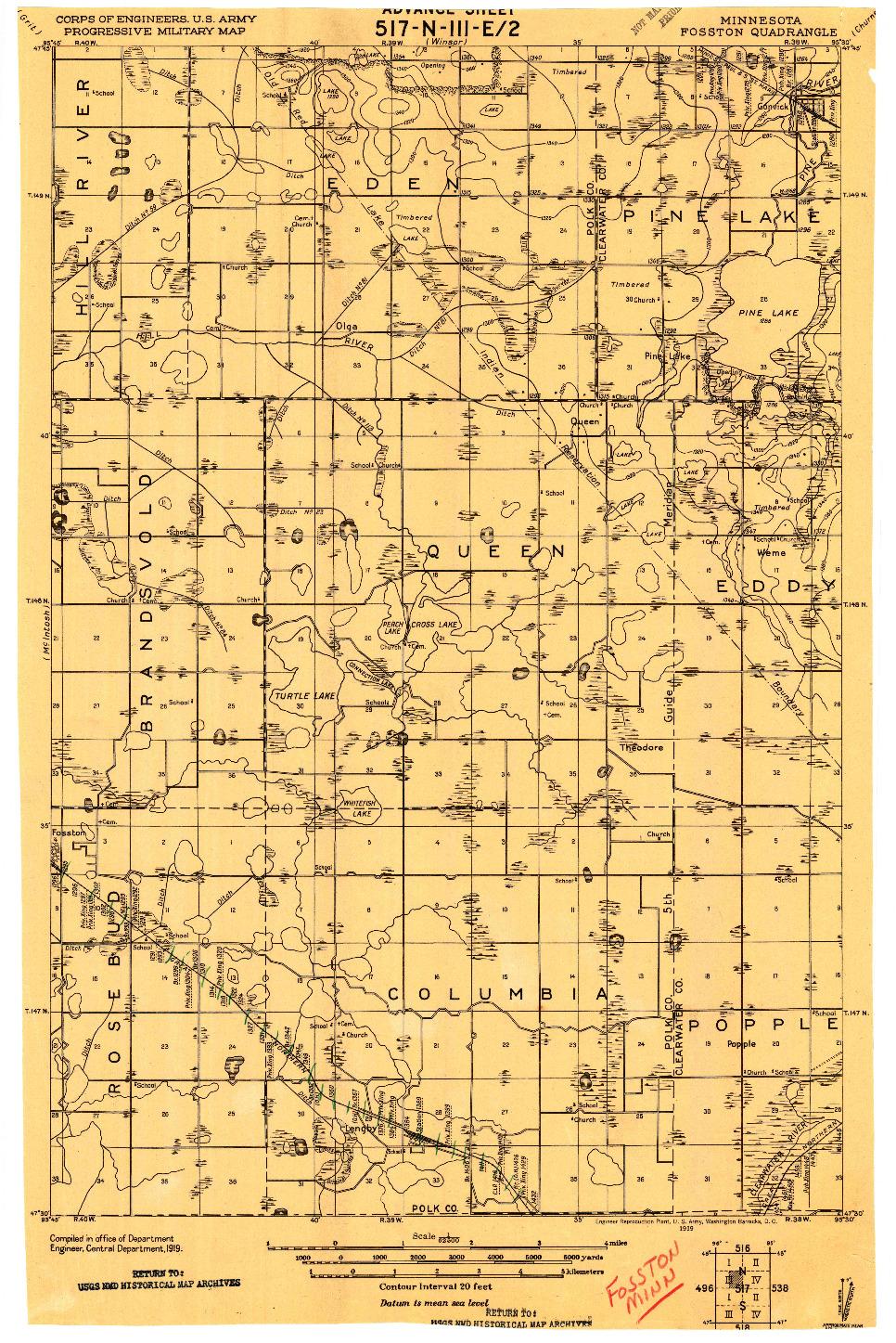 USGS 1:62500-SCALE QUADRANGLE FOR FOSSTON, MN 1919