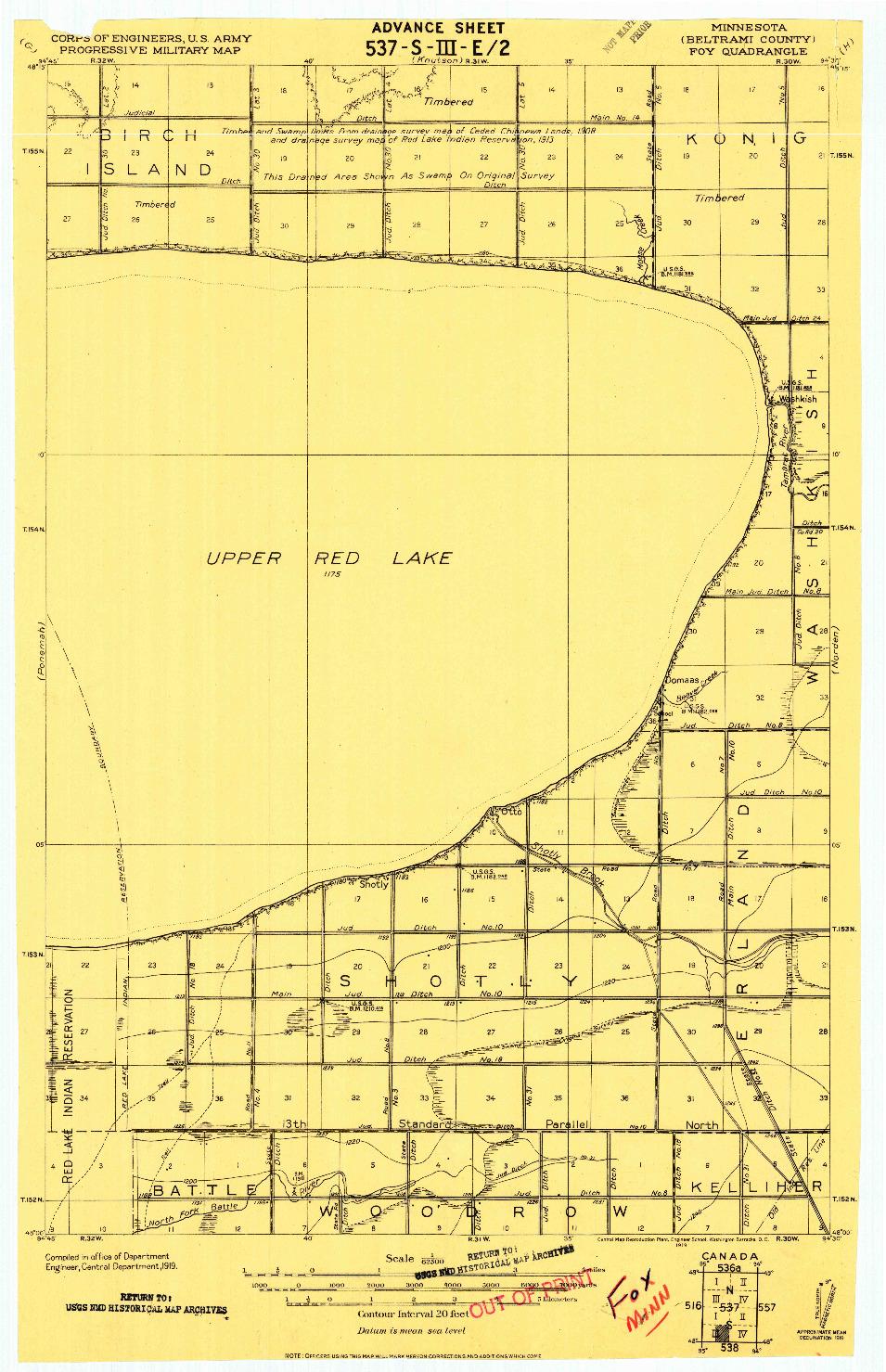 USGS 1:62500-SCALE QUADRANGLE FOR FOX, MN 1919