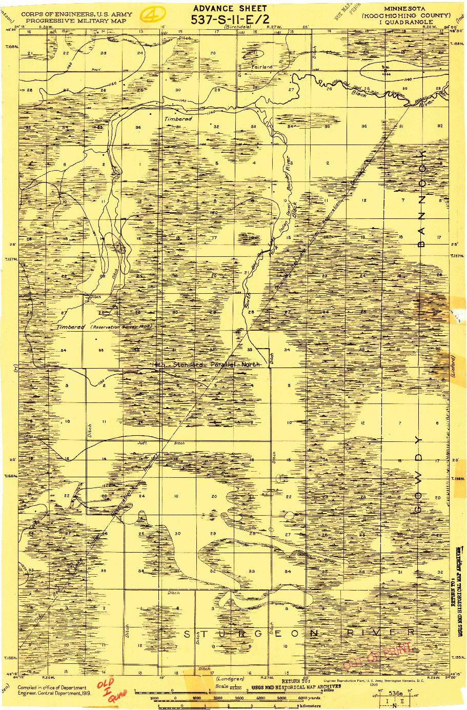 USGS 1:62500-SCALE QUADRANGLE FOR I, MN 1919