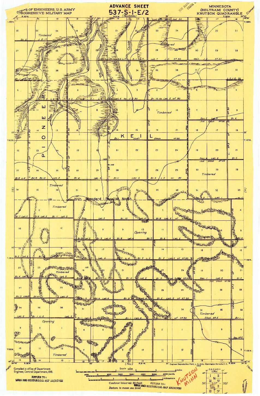 USGS 1:62500-SCALE QUADRANGLE FOR KNUTSON, MN 1919