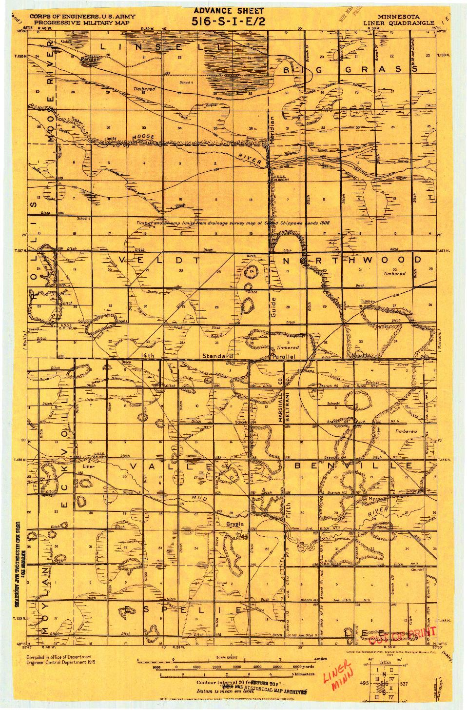 USGS 1:62500-SCALE QUADRANGLE FOR LINER, MN 1919
