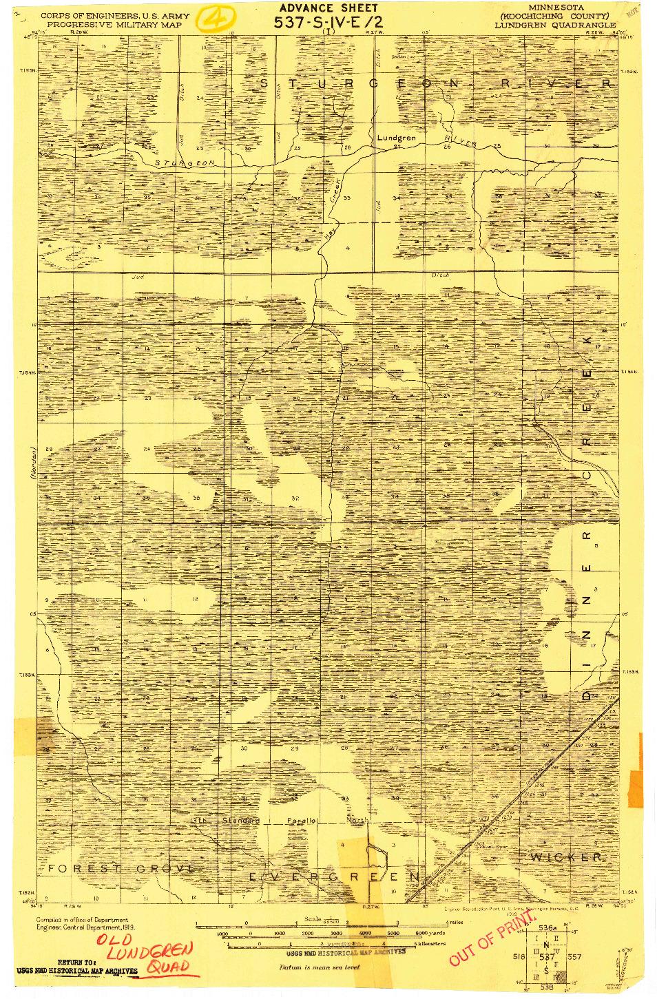 USGS 1:62500-SCALE QUADRANGLE FOR LUNDGREN, MN 1919
