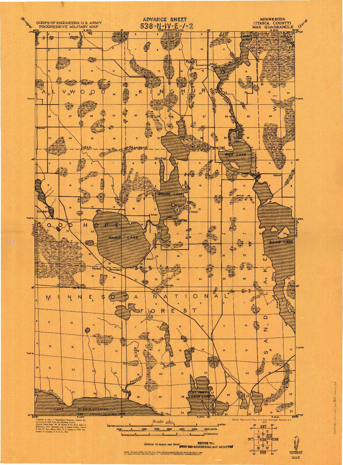 USGS 1:62500-SCALE QUADRANGLE FOR MAX, MN 1919