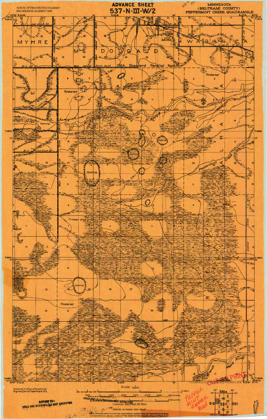 USGS 1:62500-SCALE QUADRANGLE FOR PEPPERMINT CREEK, MN 1919