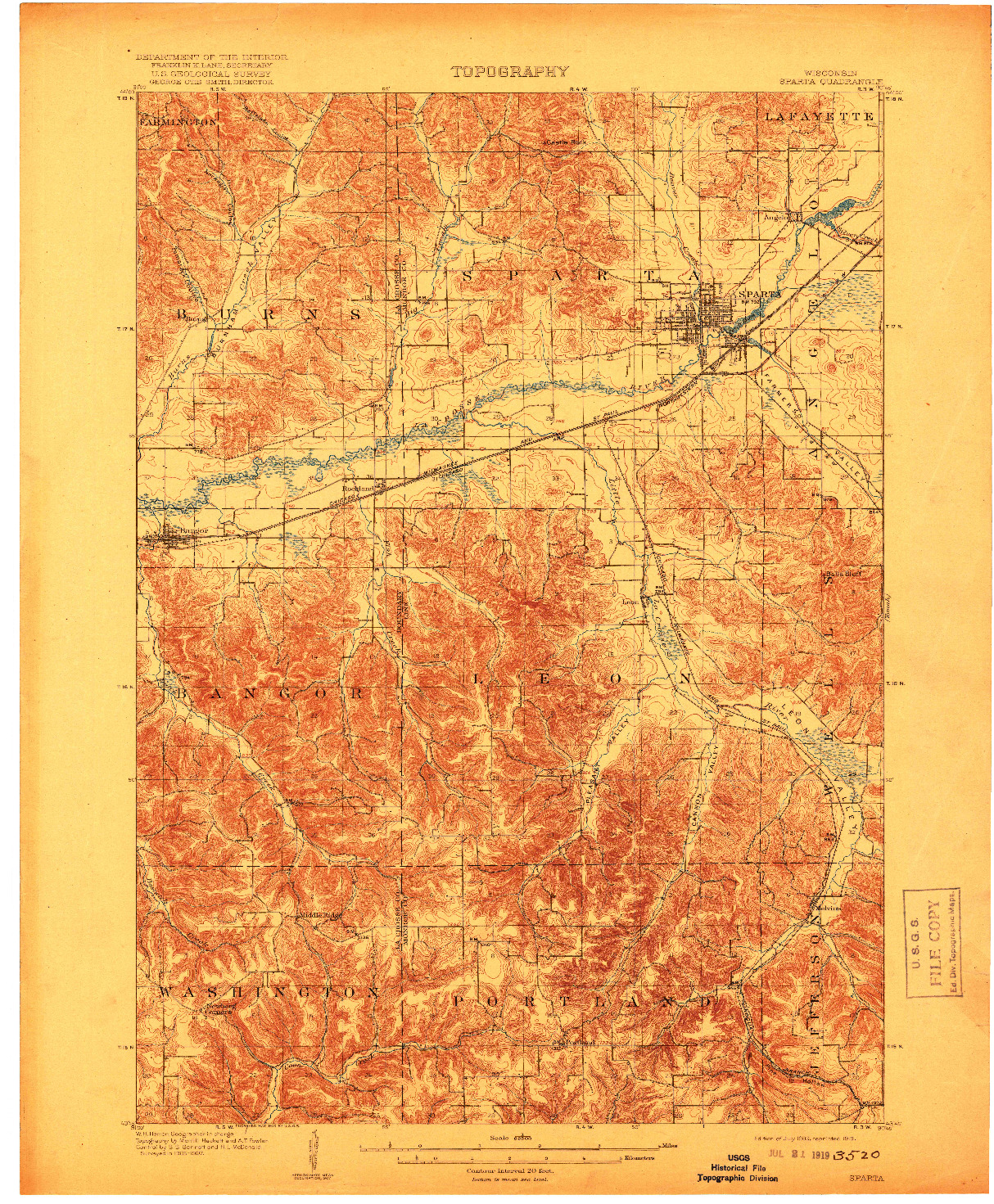 USGS 1:62500-SCALE QUADRANGLE FOR SPARTA, WI 1909