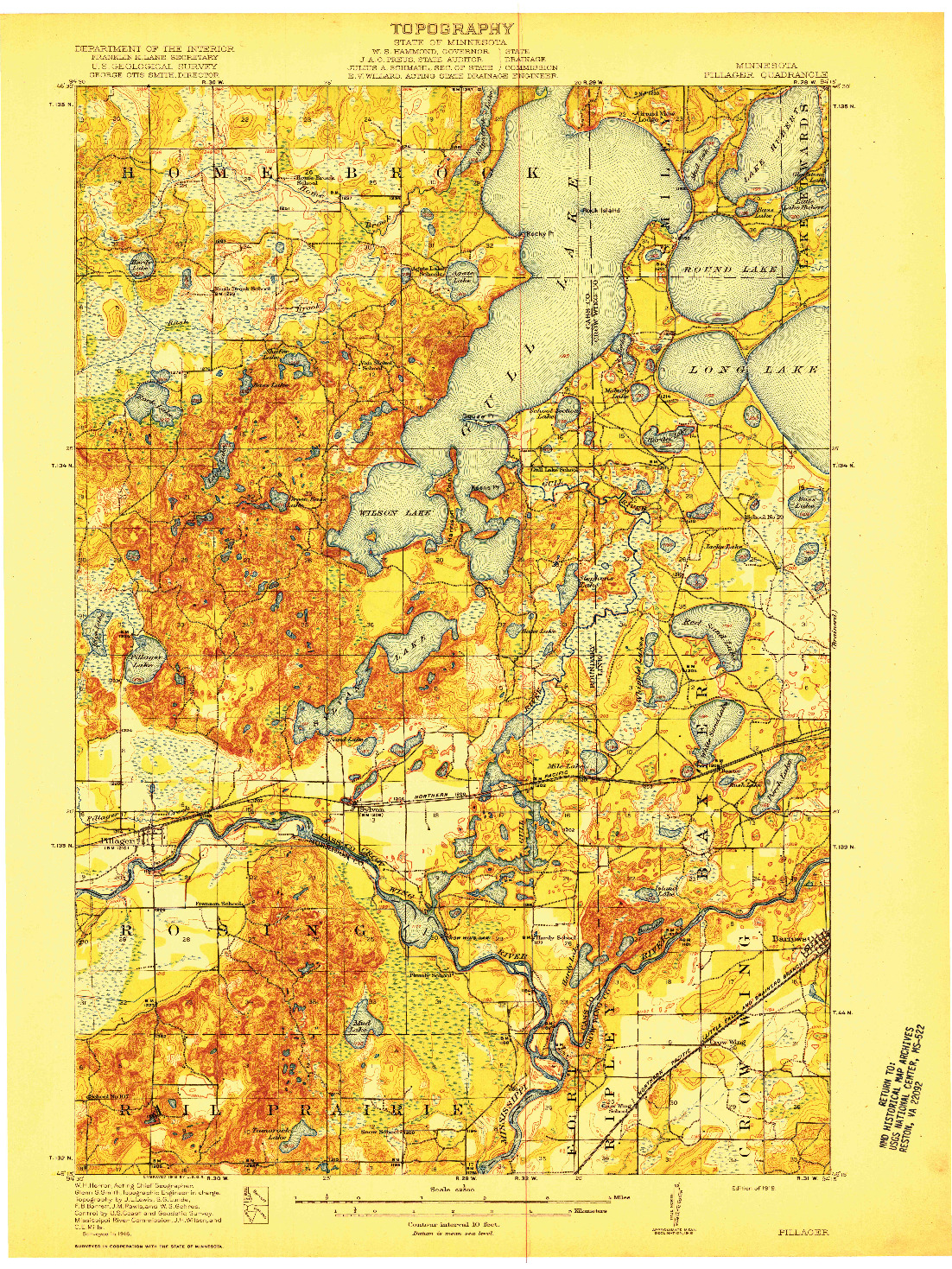 USGS 1:62500-SCALE QUADRANGLE FOR PILLAGER, MN 1919