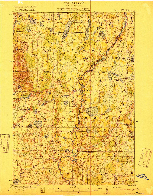 USGS 1:62500-SCALE QUADRANGLE FOR ST. FRANCIS, MN 1919