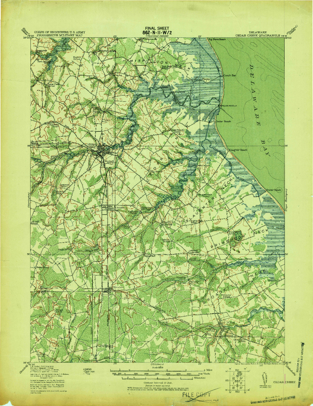 USGS 1:62500-SCALE QUADRANGLE FOR CEDAR CREEK, DE 1919