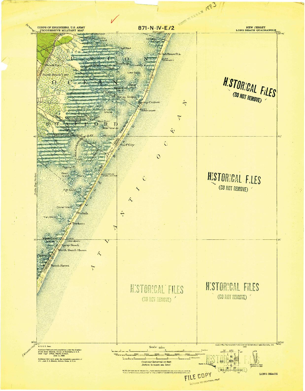 USGS 1:62500-SCALE QUADRANGLE FOR LONG BEACH, NJ 1919