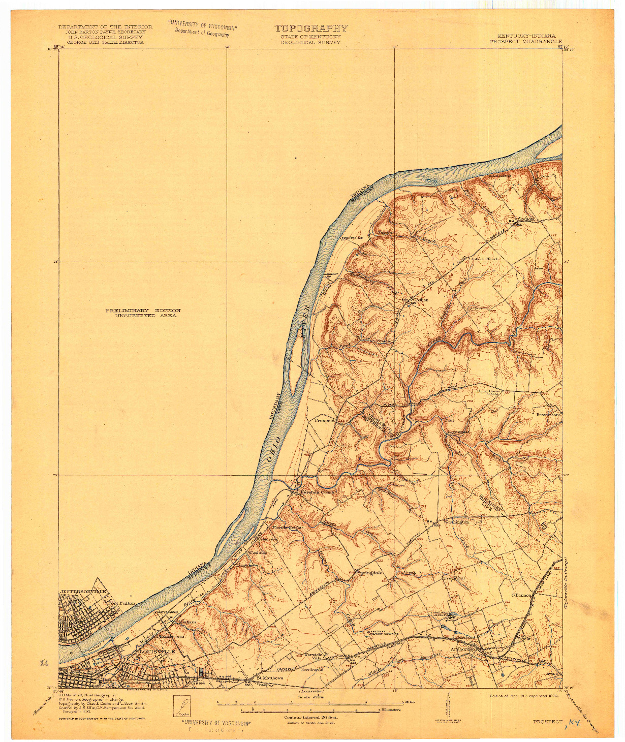 USGS 1:62500-SCALE QUADRANGLE FOR PROSPECT, KY 1912