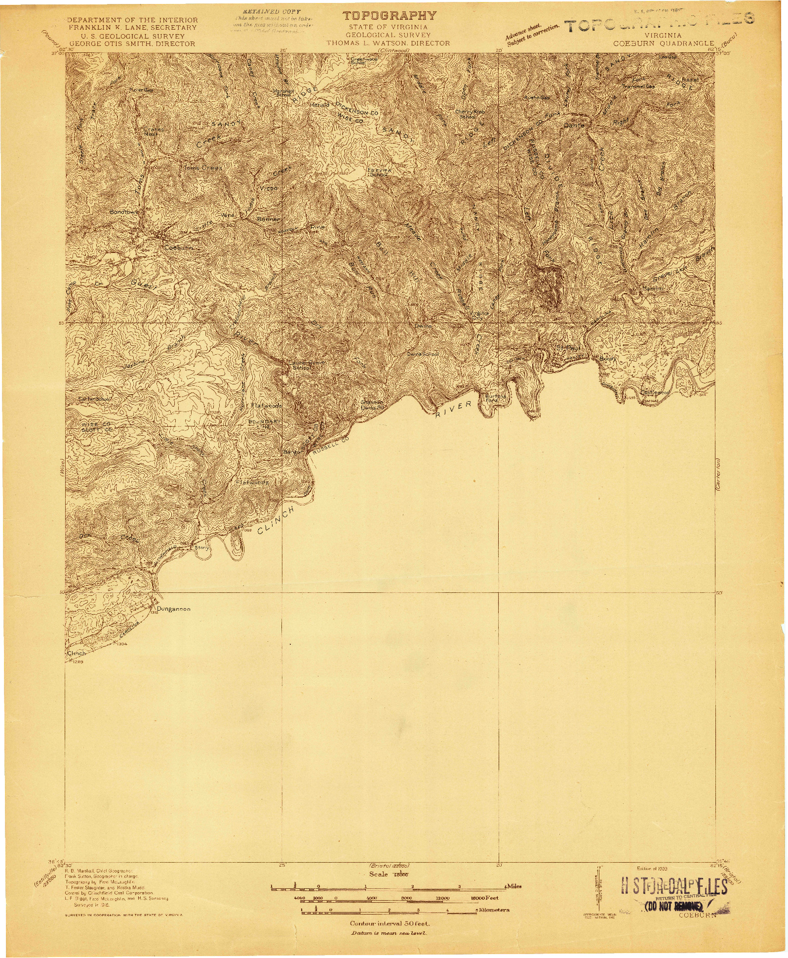 USGS 1:48000-SCALE QUADRANGLE FOR COEBURN, VA 1920