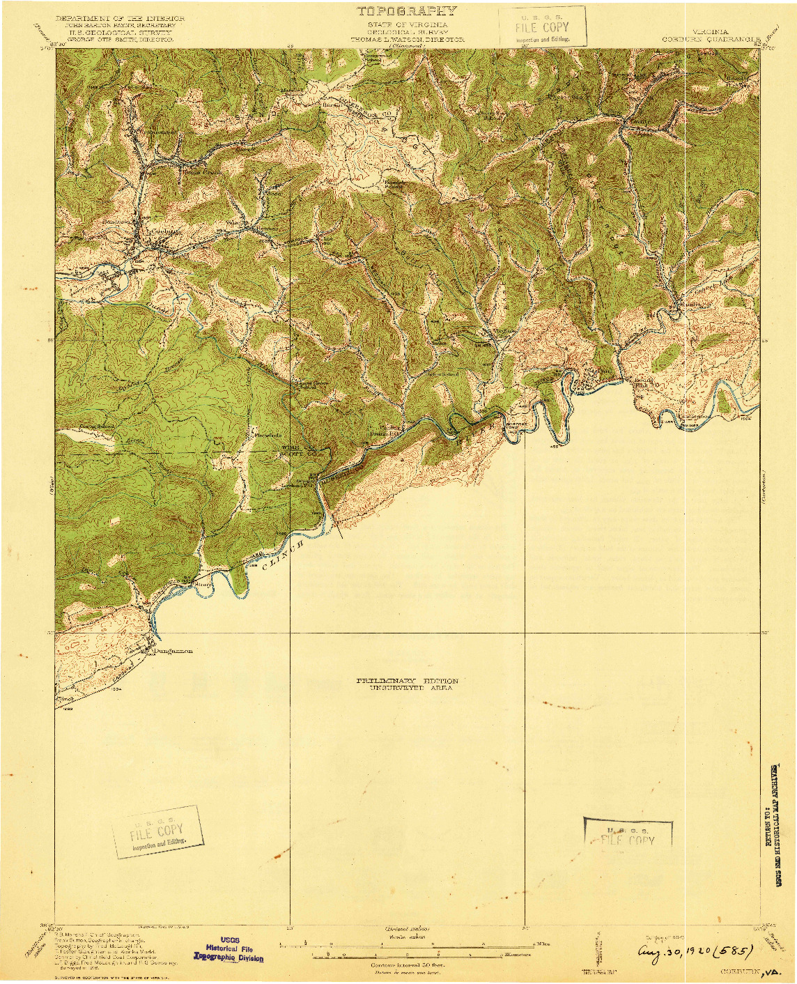 USGS 1:62500-SCALE QUADRANGLE FOR COEBURN, VA 1920