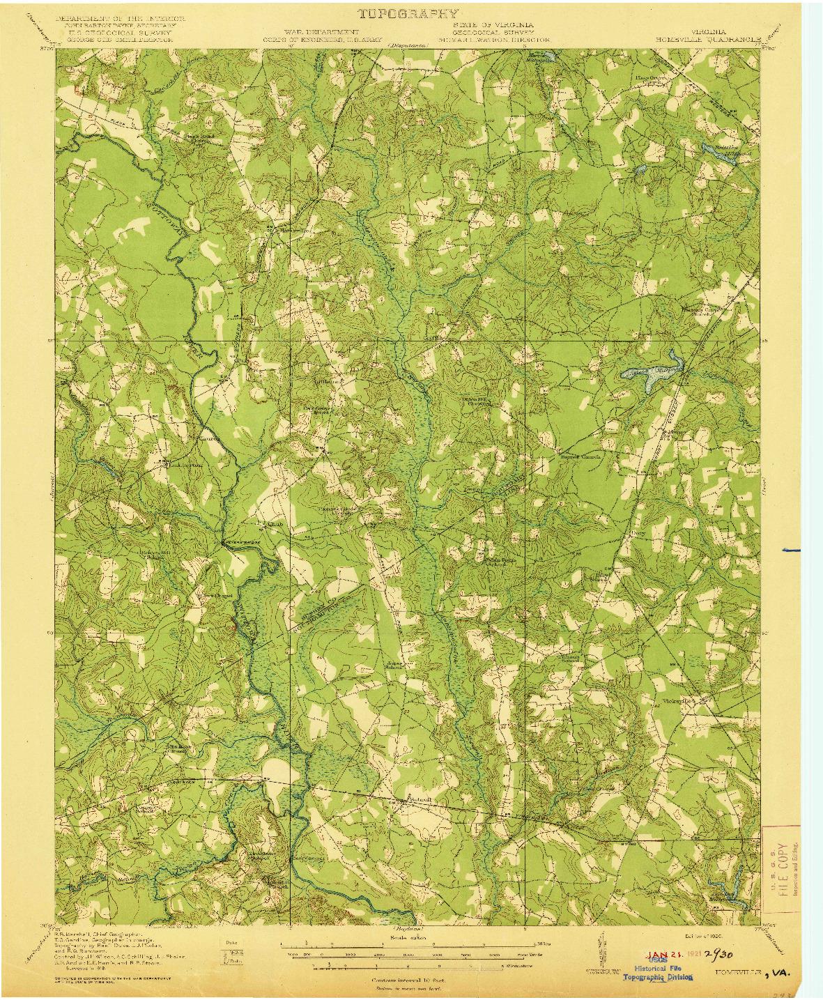 USGS 1:62500-SCALE QUADRANGLE FOR HOMEVILLE, VA 1920