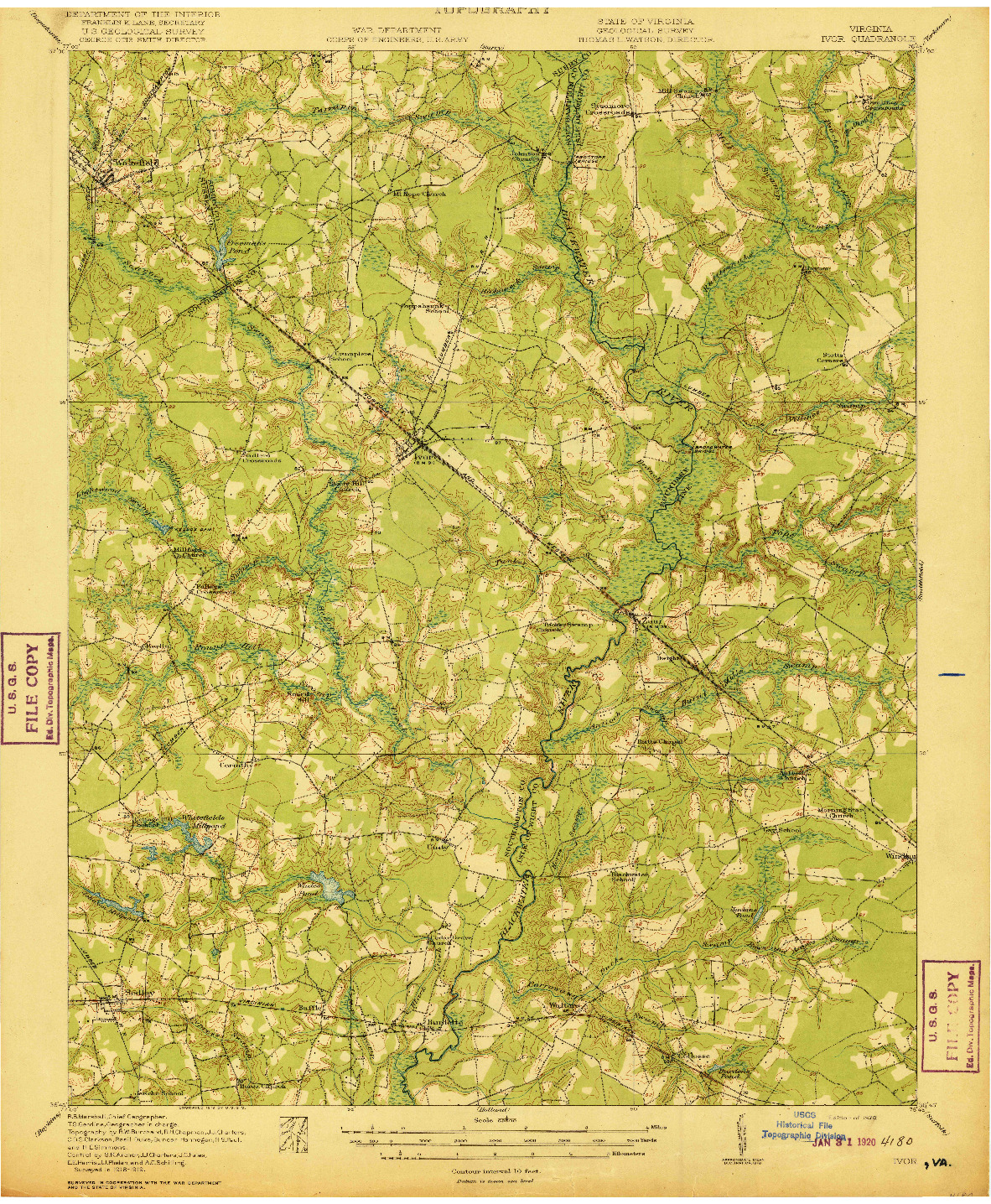 USGS 1:62500-SCALE QUADRANGLE FOR IVOR, VA 1920