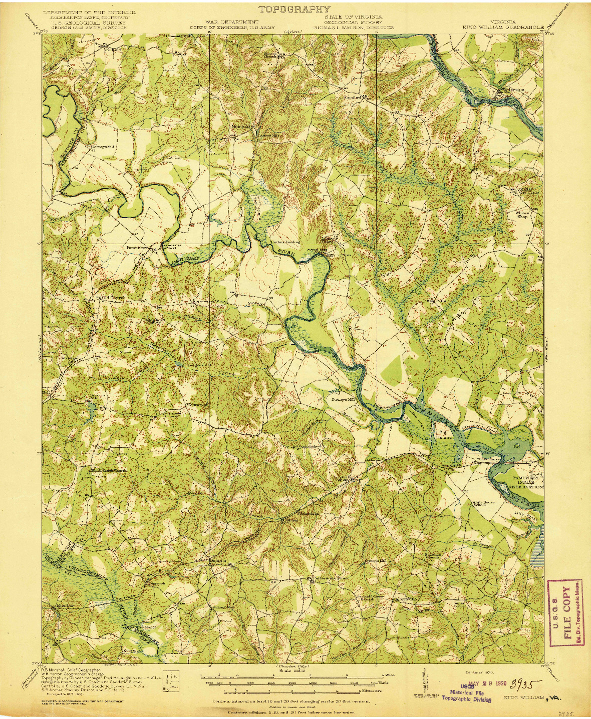 USGS 1:62500-SCALE QUADRANGLE FOR KING WILLIAM, VA 1920