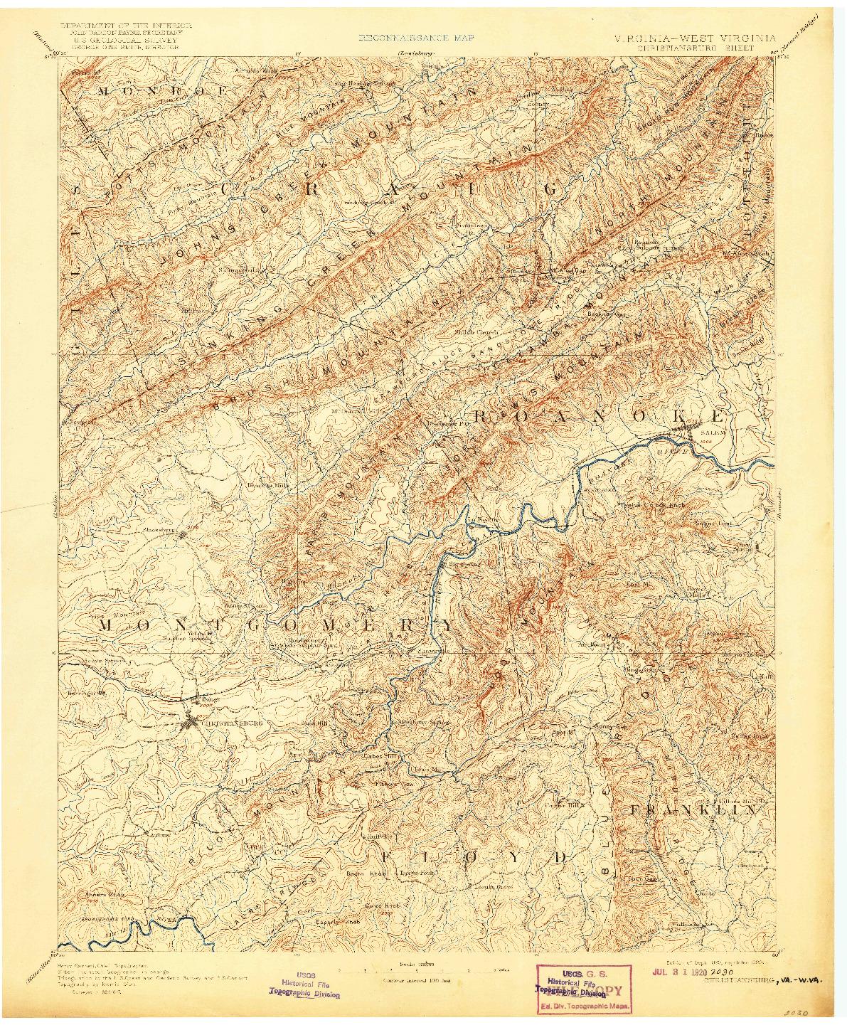 USGS 1:125000-SCALE QUADRANGLE FOR CHRISTIANSBURG, VA 1890