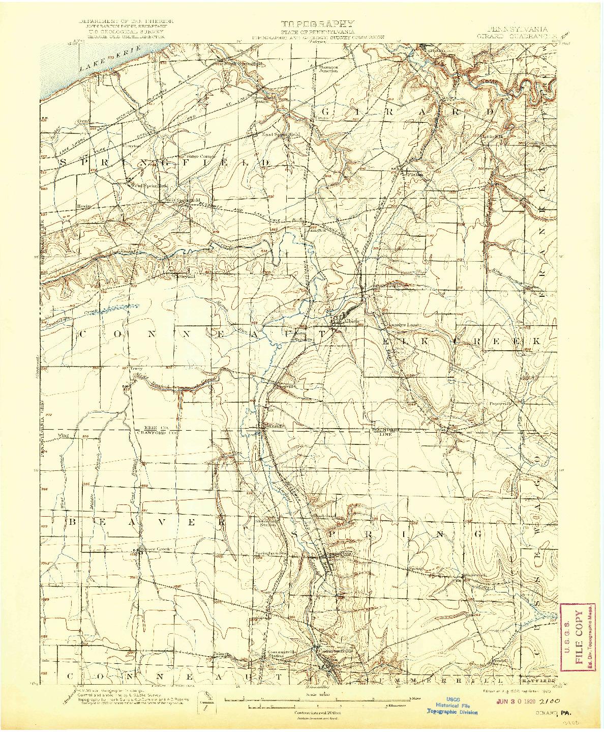 USGS 1:62500-SCALE QUADRANGLE FOR GIRARD, PA 1900