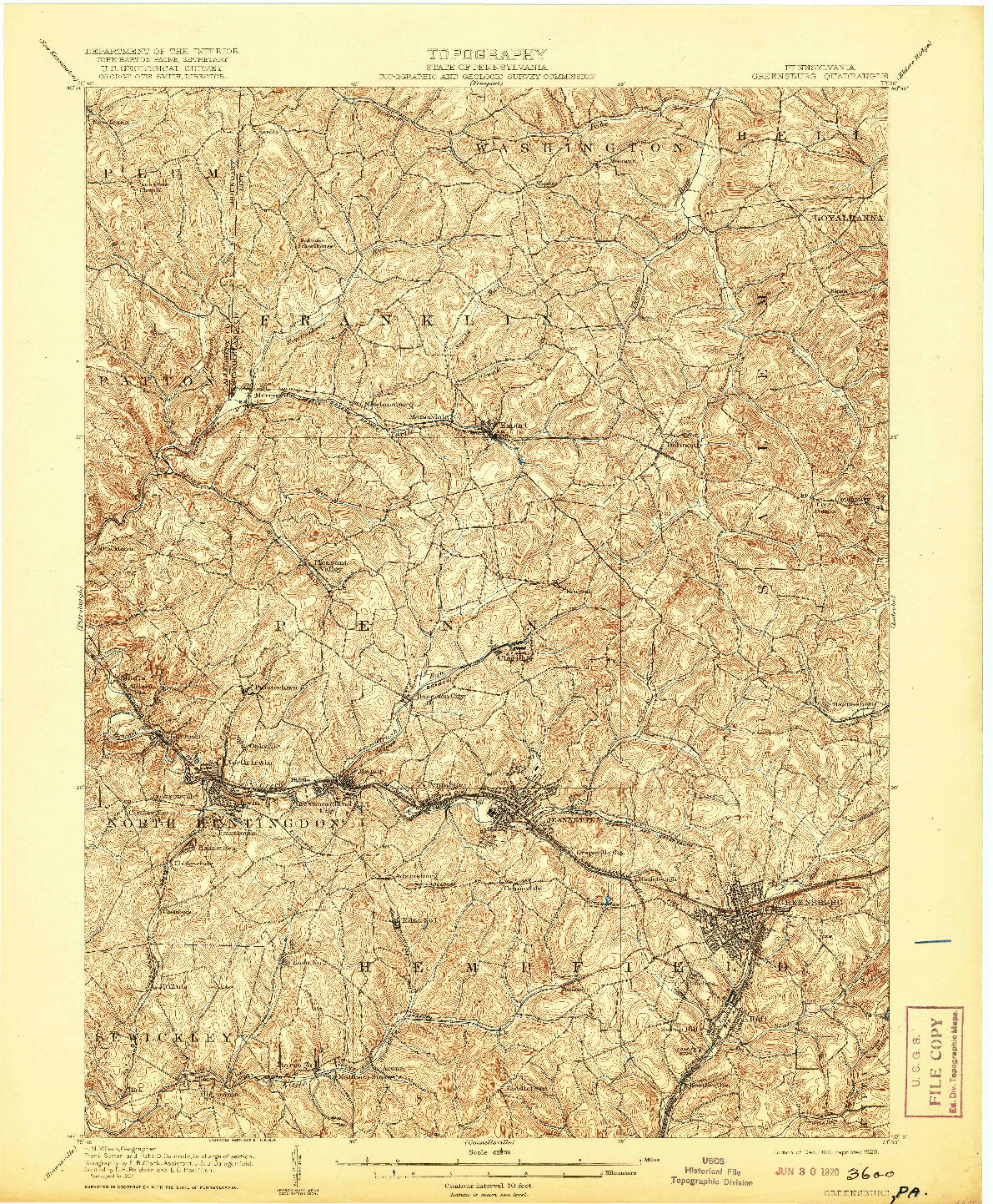 USGS 1:62500-SCALE QUADRANGLE FOR GREENSBURG, PA 1906