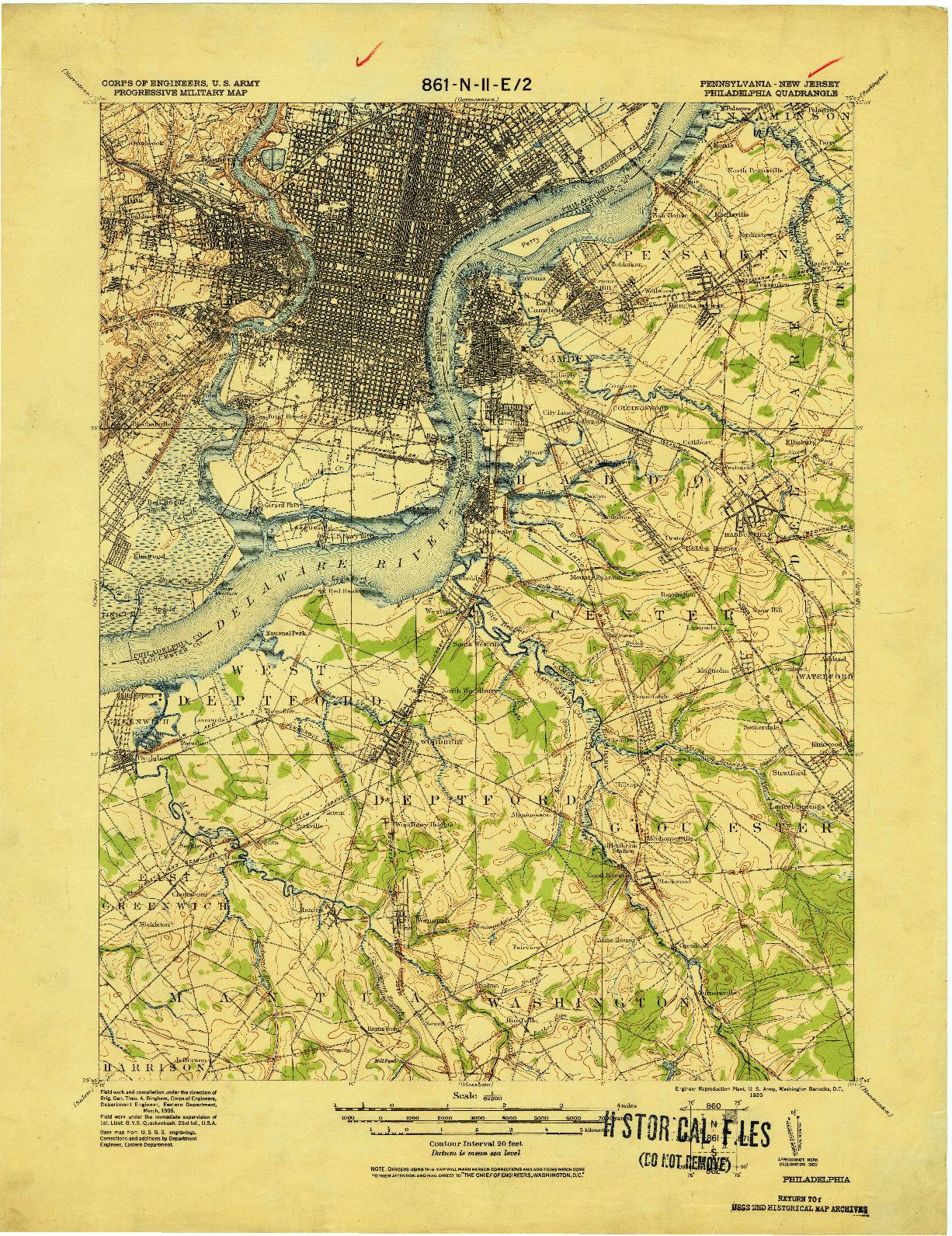 USGS 1:62500-SCALE QUADRANGLE FOR PHILADELPHIA, PA 1920