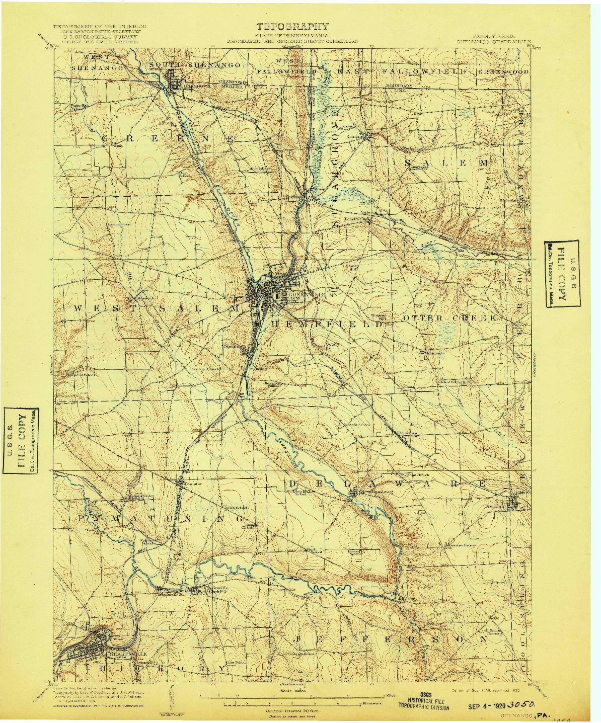 USGS 1:62500-SCALE QUADRANGLE FOR SHENANGO, PA 1908