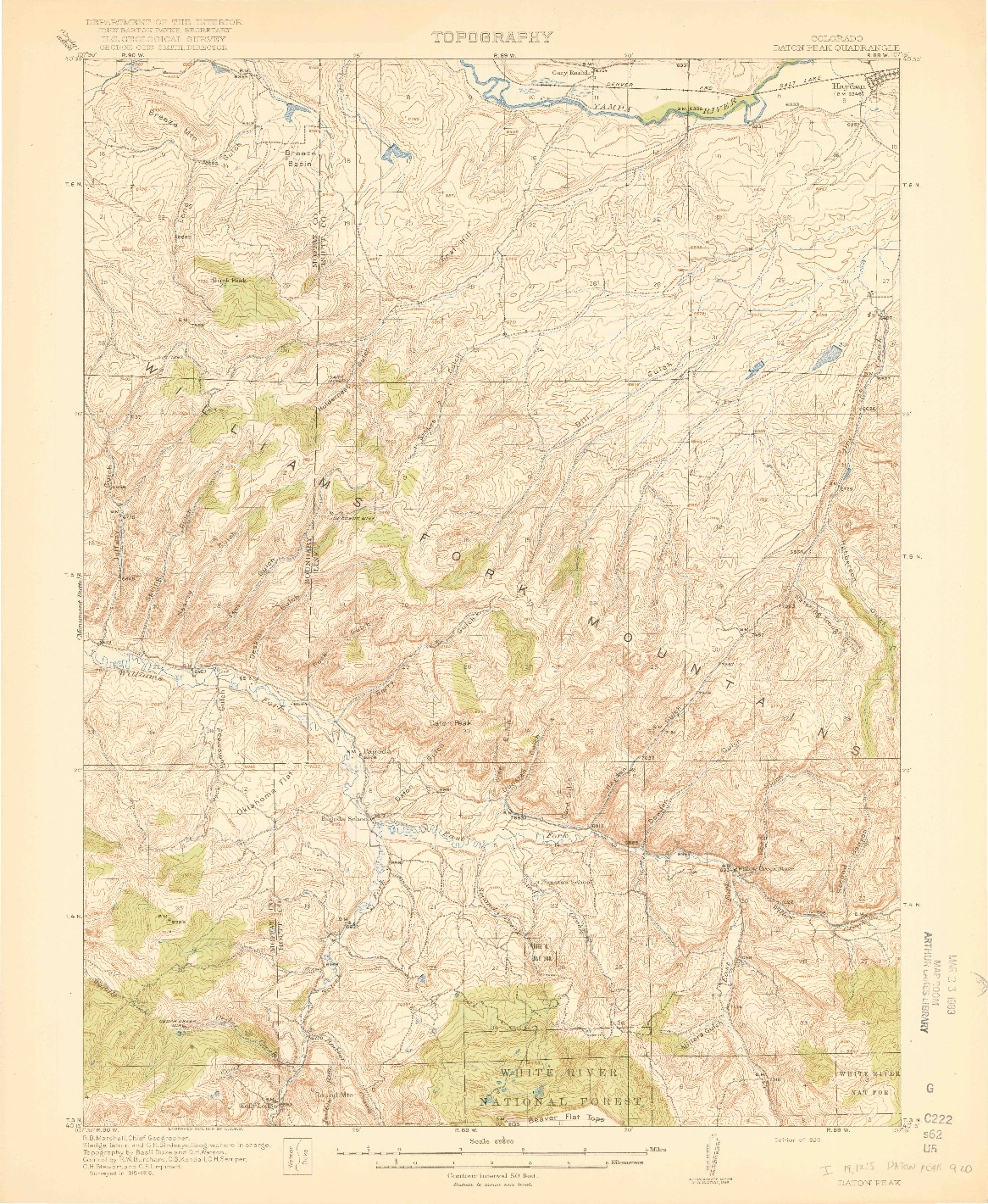 USGS 1:62500-SCALE QUADRANGLE FOR DATON PEAK, CO 1920