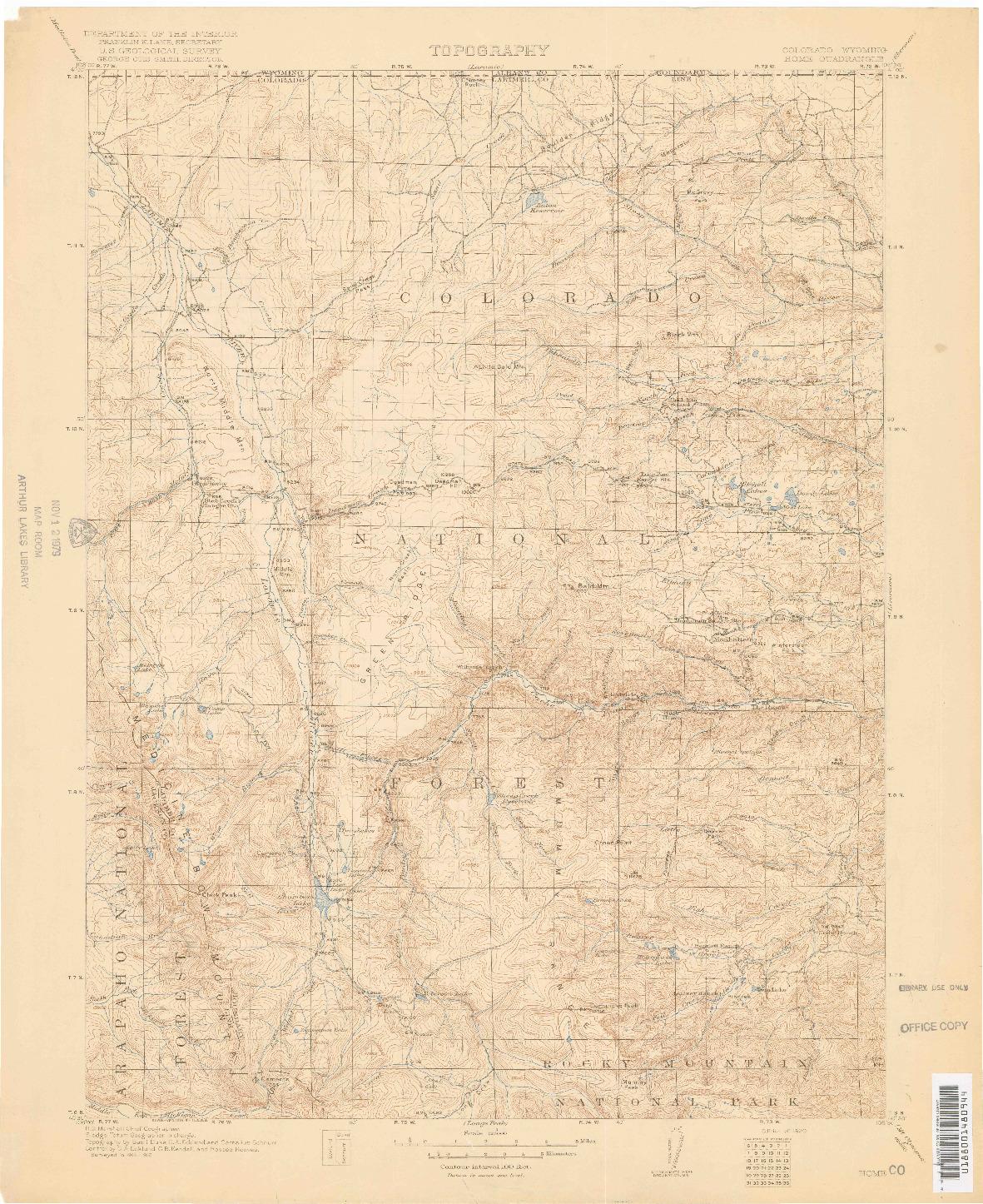 USGS 1:125000-SCALE QUADRANGLE FOR HOME, CO 1920