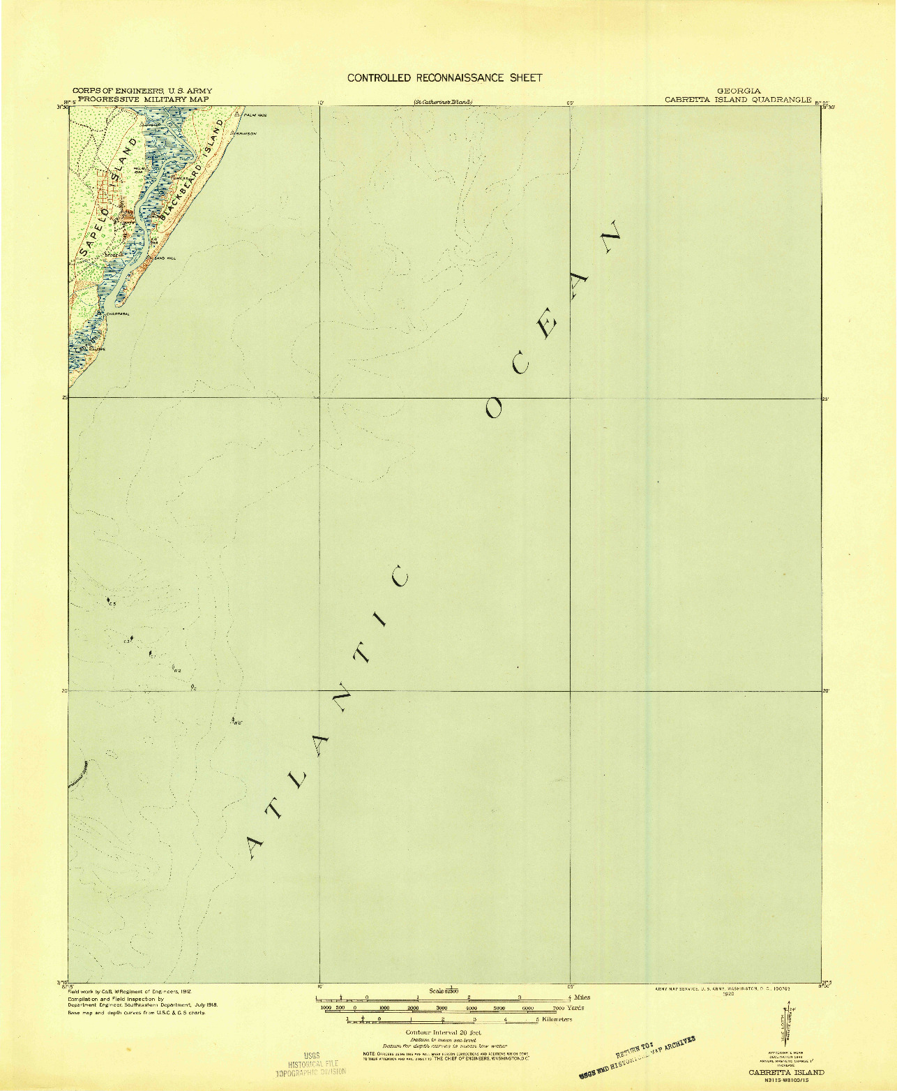 USGS 1:62500-SCALE QUADRANGLE FOR CABRETTA ISLAND, GA 1920