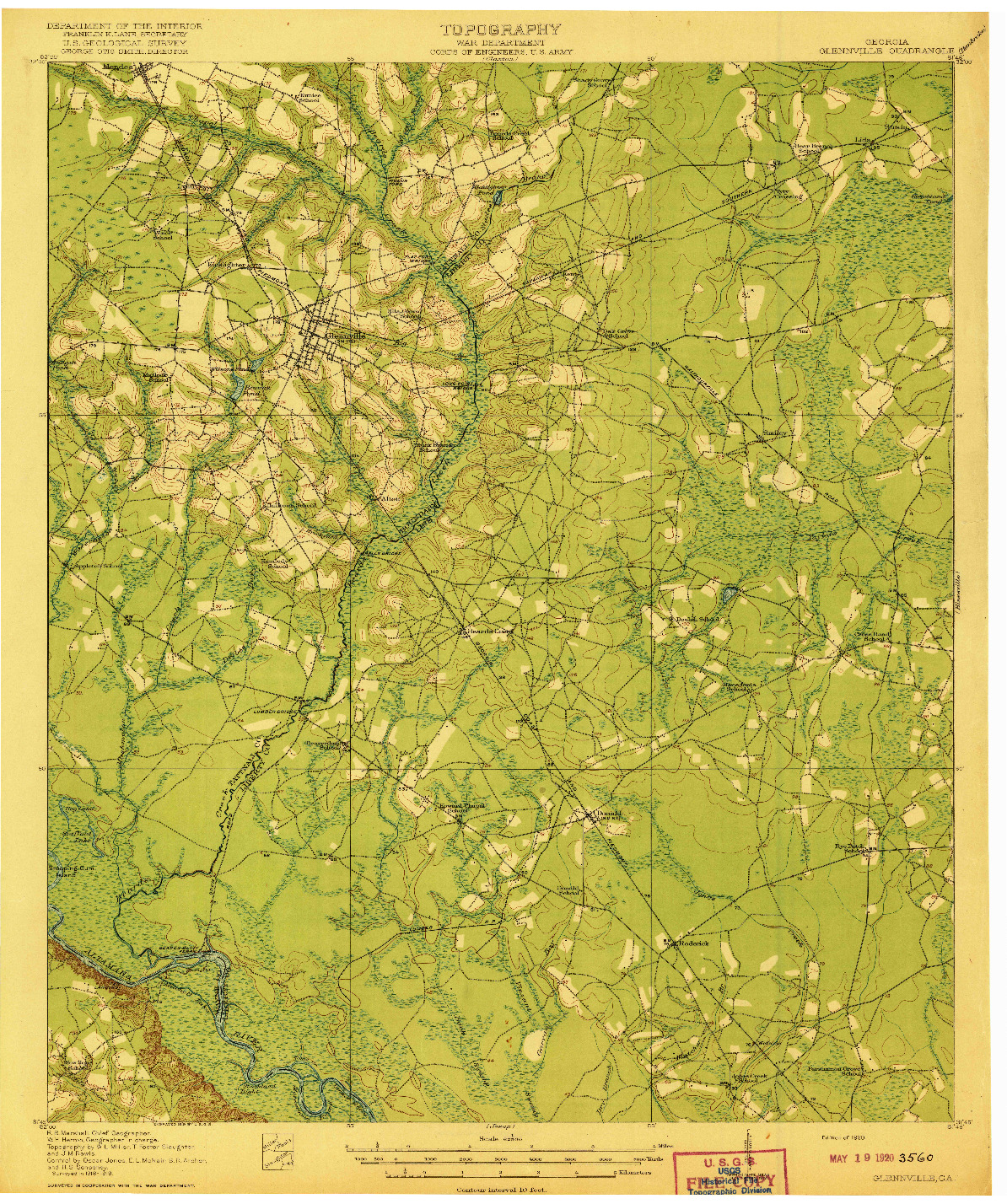 USGS 1:62500-SCALE QUADRANGLE FOR GLENNVILLE, GA 1920