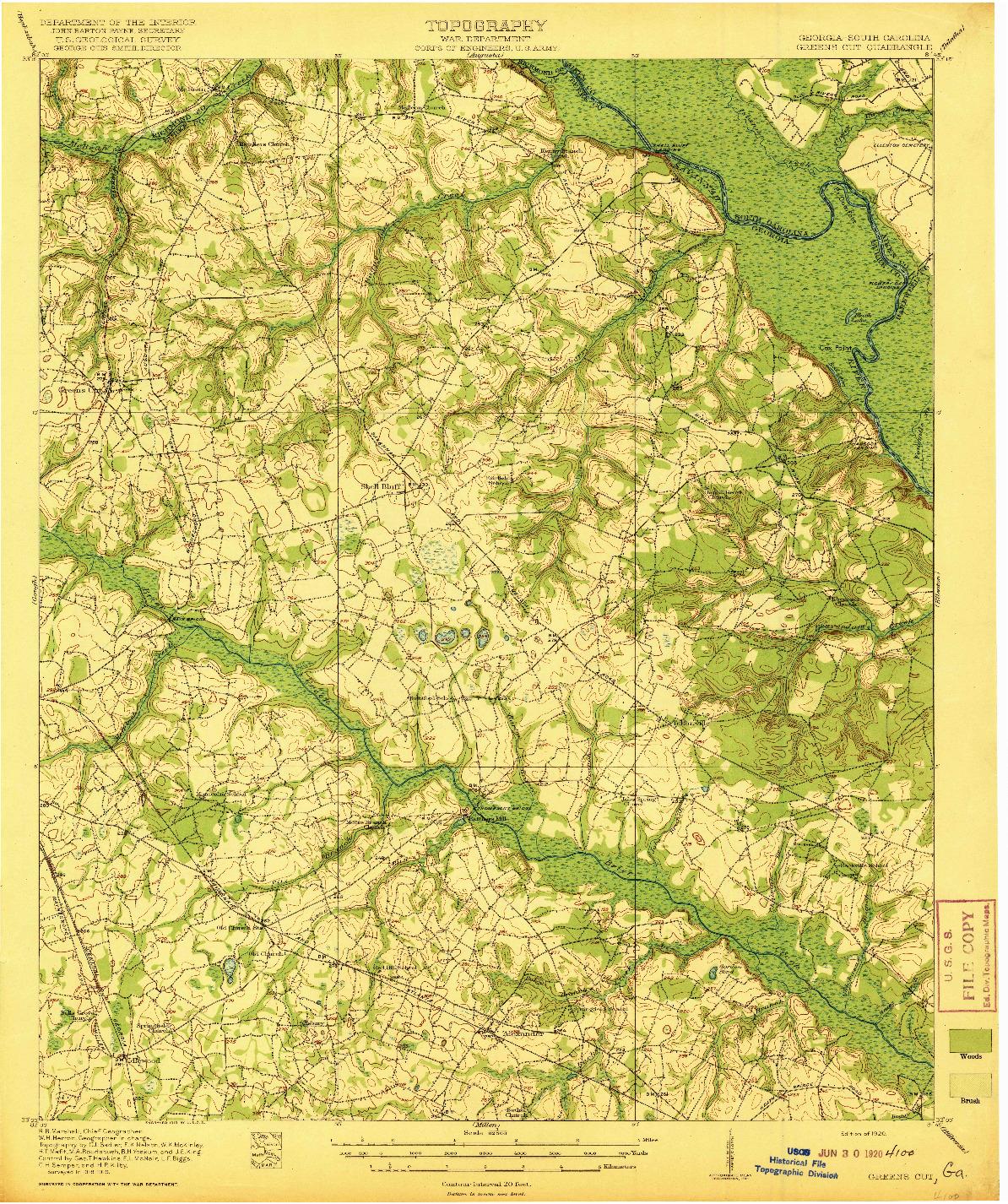 USGS 1:62500-SCALE QUADRANGLE FOR GREENS CUT, GA 1920