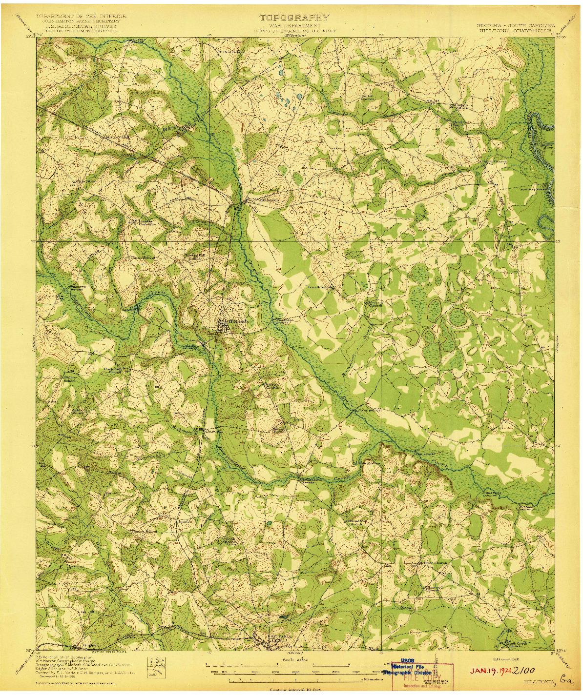 USGS 1:62500-SCALE QUADRANGLE FOR HILLTONIA, GA 1920