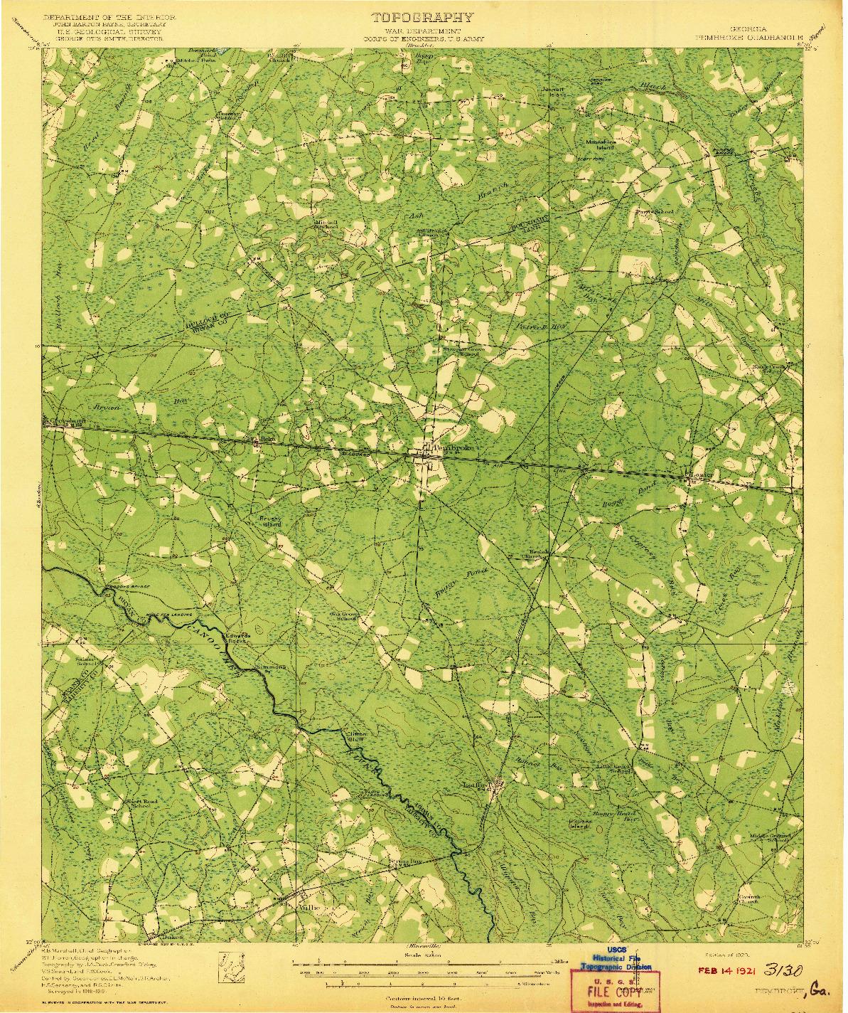 USGS 1:62500-SCALE QUADRANGLE FOR PEMBROKE, GA 1920