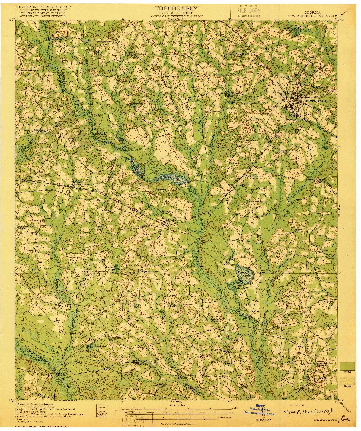 USGS 1:62500-SCALE QUADRANGLE FOR STATESBORO, GA 1920
